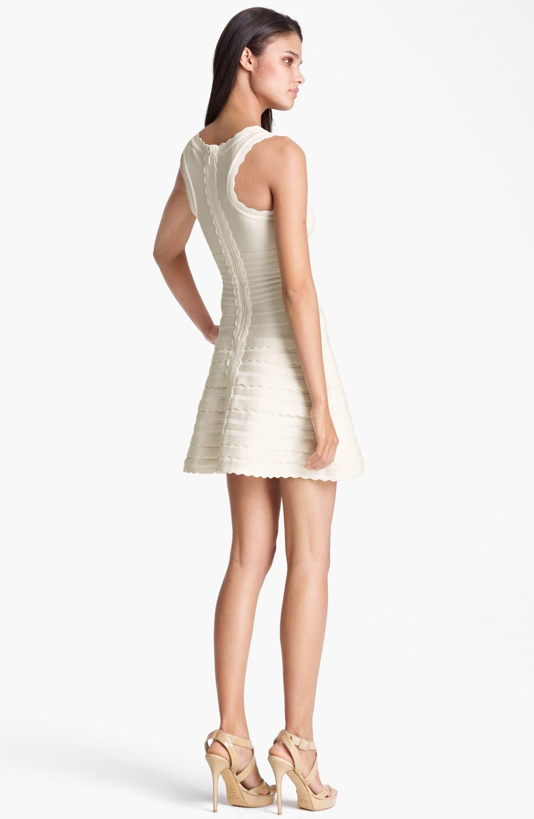 Alternate Image 2  - Herve Leger Scalloped A-Line Dress