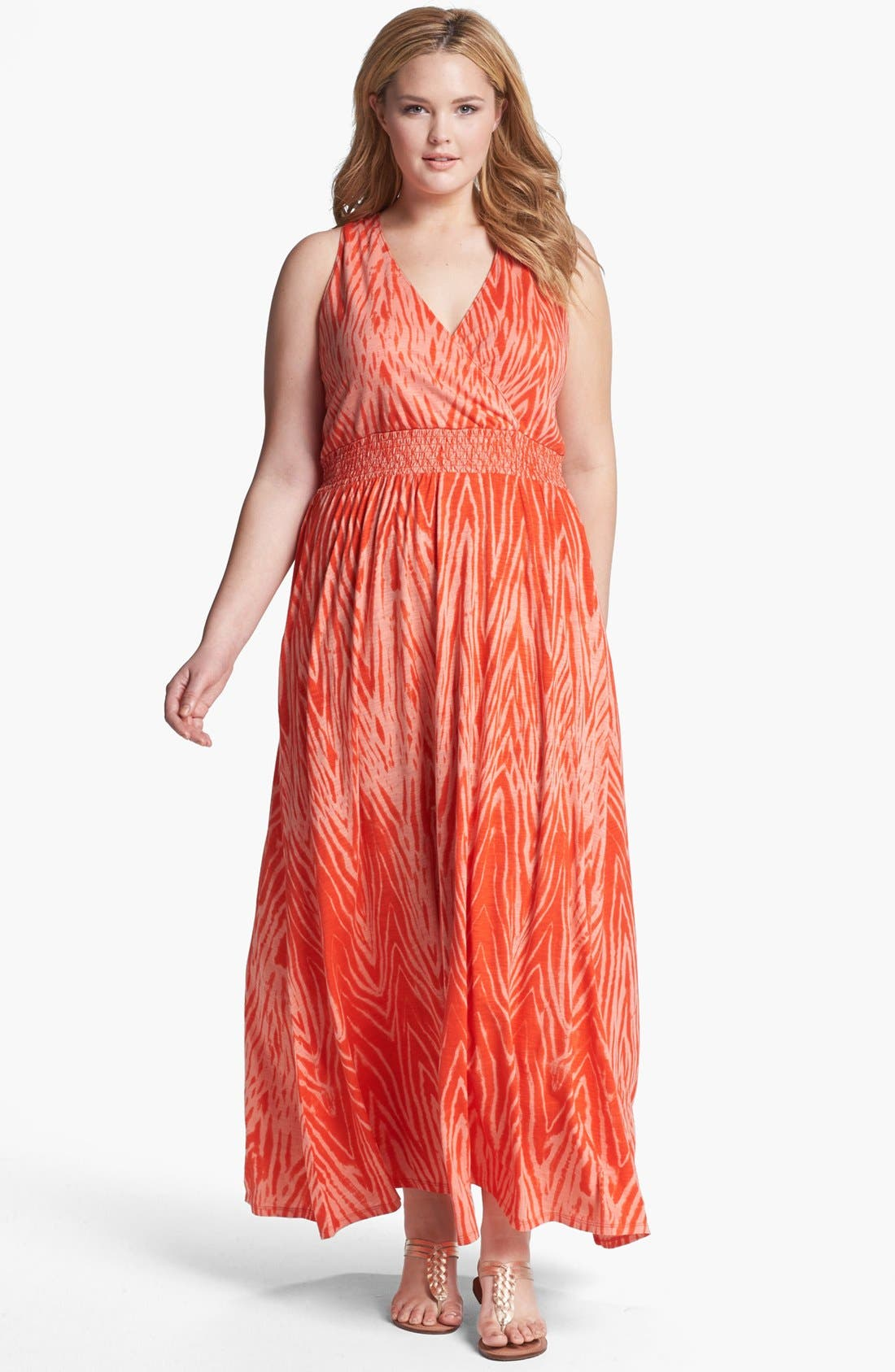 Alternate Image 1 Selected - Lucky Brand 'Watercolor Zebra' Print Maxi Dress (Plus Size)