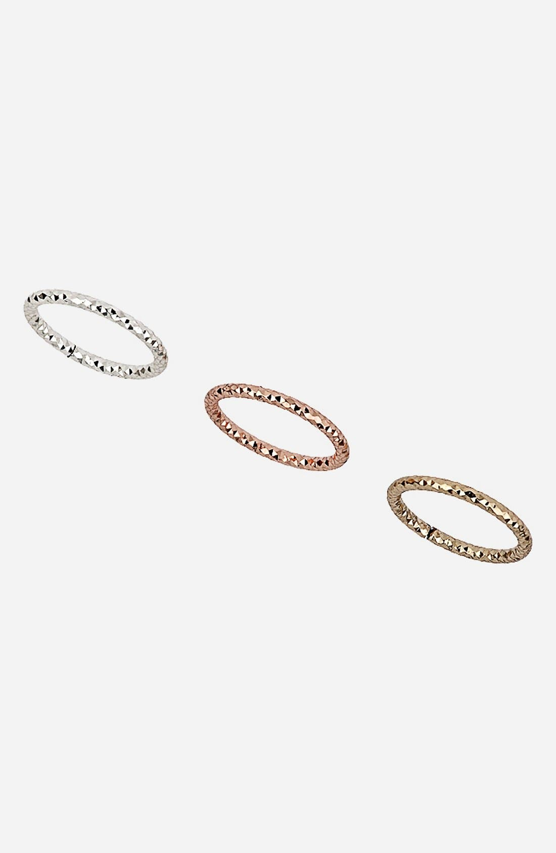 Main Image - Topshop Faceted Midi Rings (Set of 3)