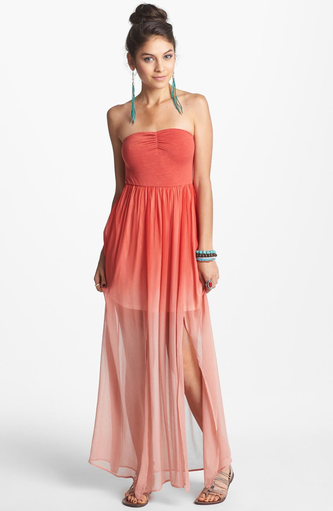 Alternate Image 1 Selected - Fire Strapless Print Chiffon Maxi Dress (Juniors)