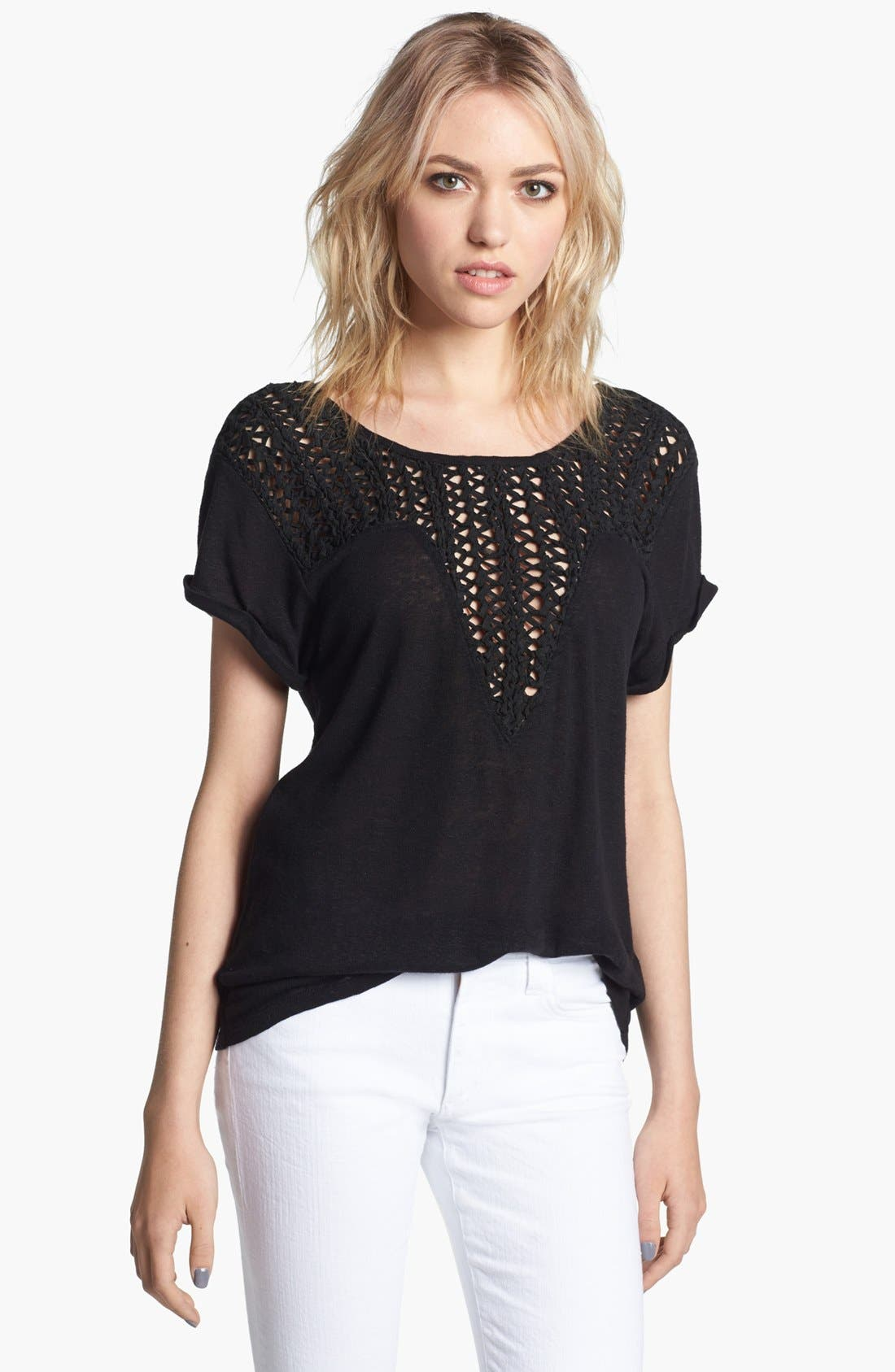Alternate Image 1 Selected - Trouvé Open Weave Bib Linen Blend Sweater