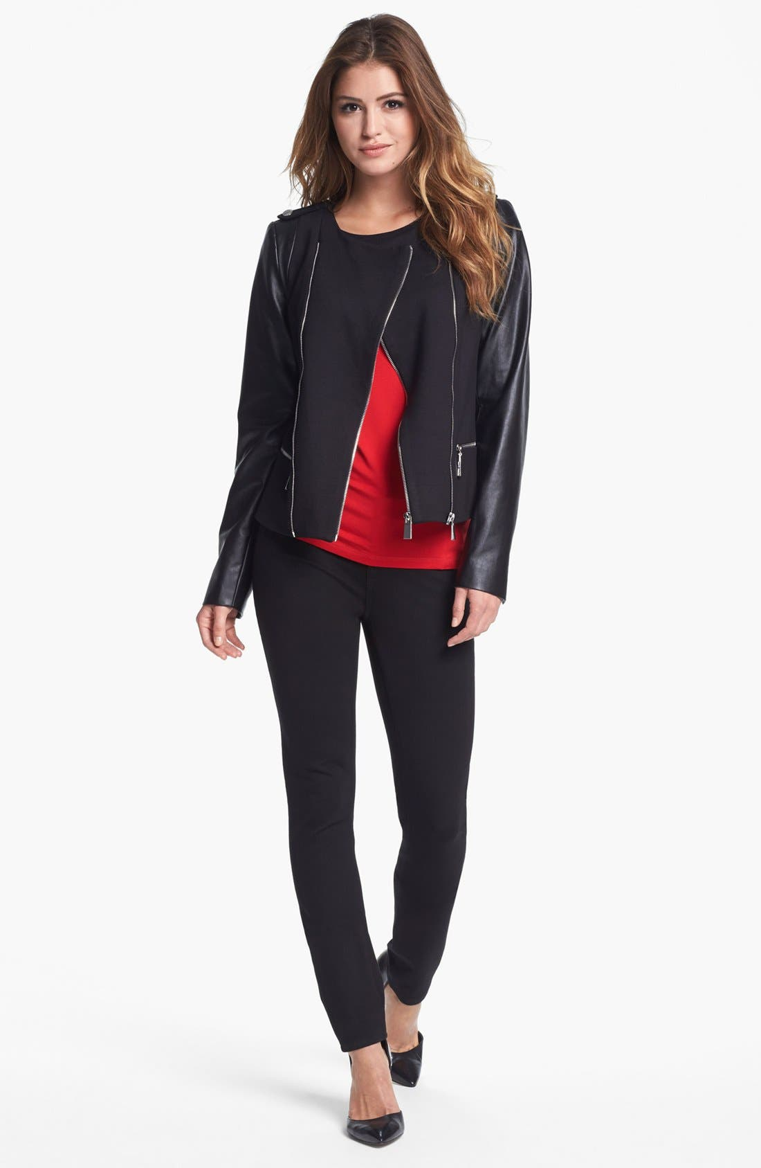 Main Image - Vince Camuto Ponte & Faux Leather Moto Jacket (Nordstrom Exclusive)