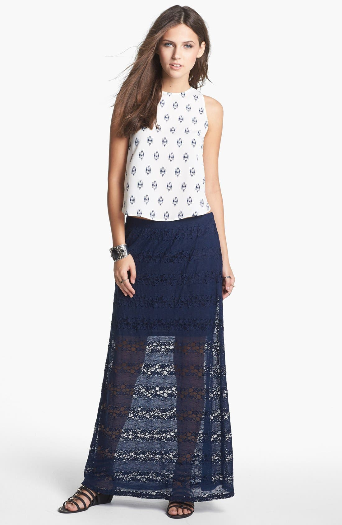 Main Image - Lily White Lace Maxi Skirt (Juniors)