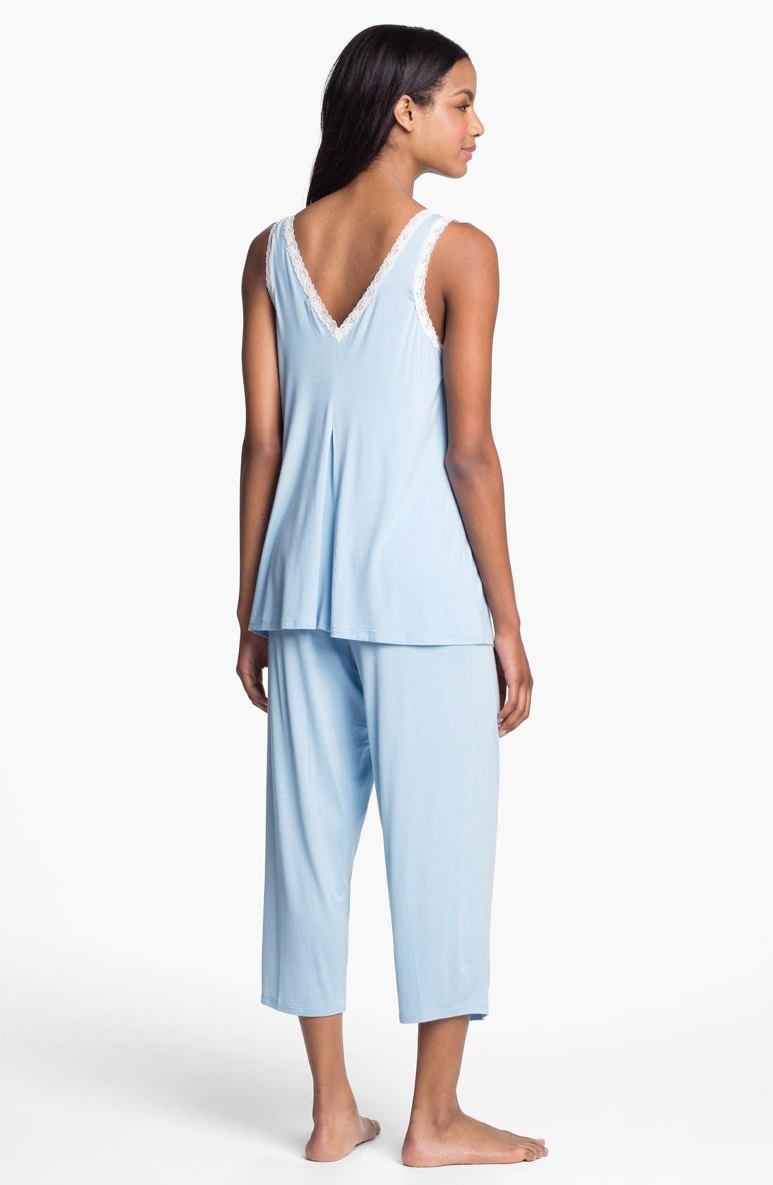 Alternate Image 2  - Midnight by Carole Hochman Lace Trim Capri Pajamas