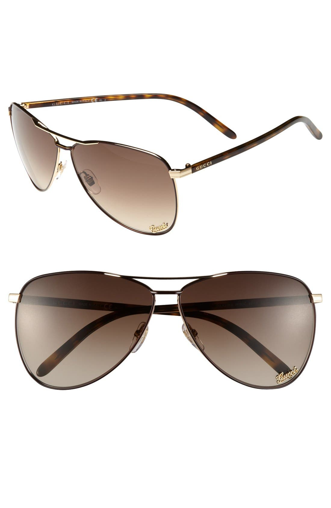 Alternate Image 1 Selected - Gucci 62mm Metal Aviator Sunglasses