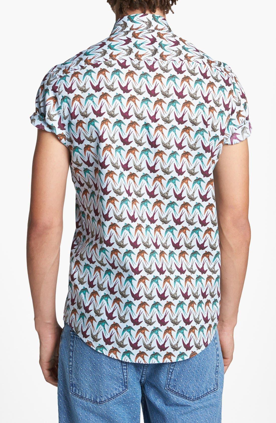 Alternate Image 2  - Topman Swallow Print Shirt