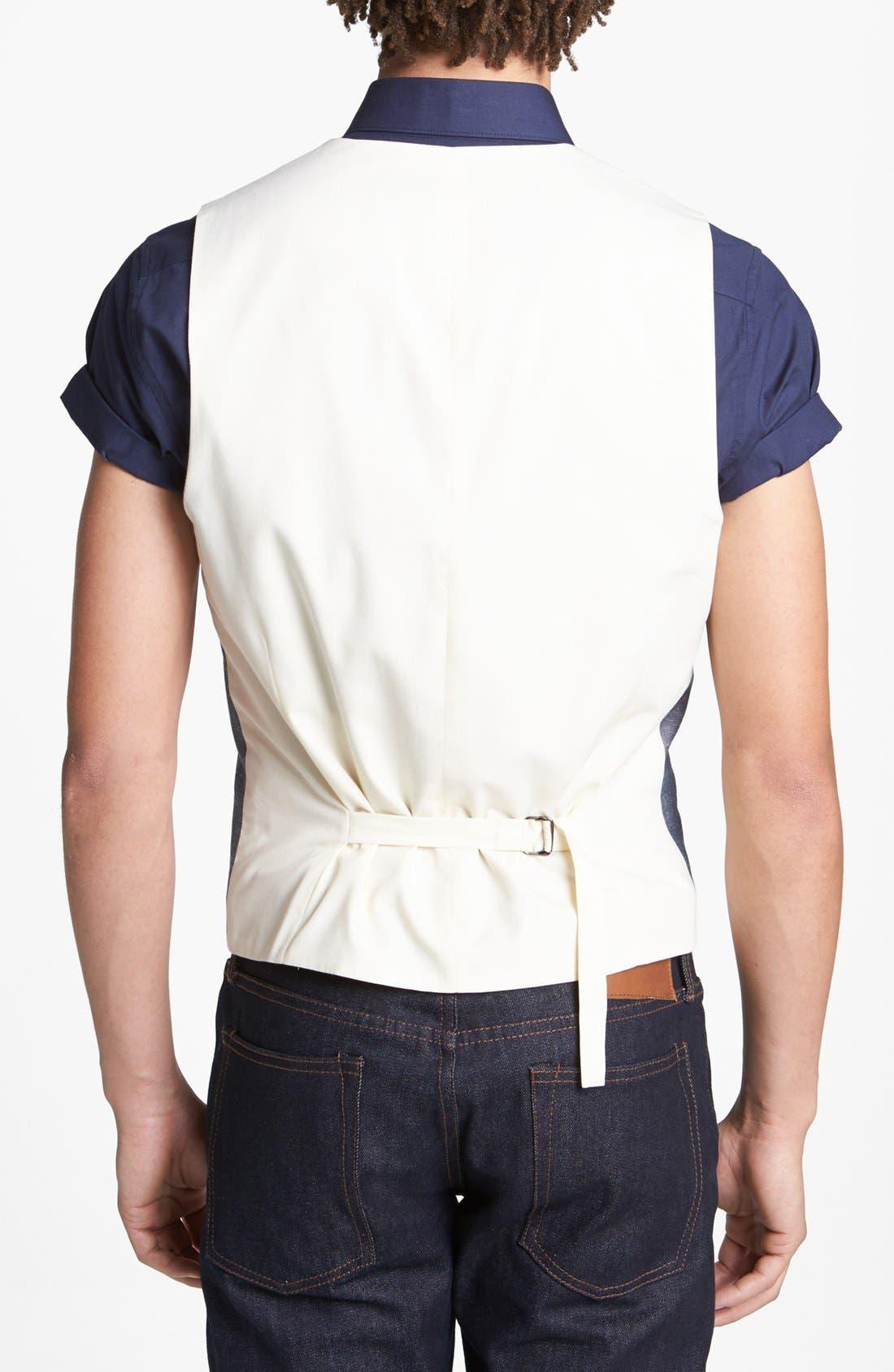 Alternate Image 2  - Topman Trim Fit Oxford Waistcoat