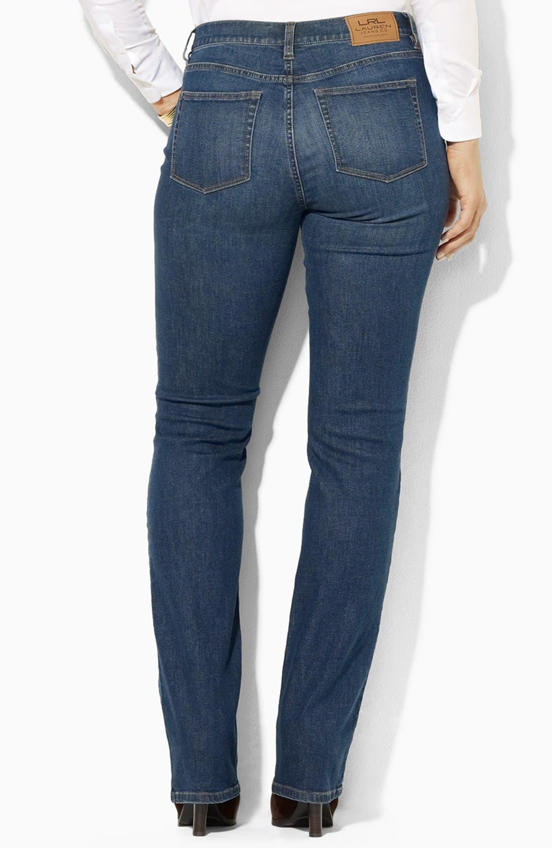 Alternate Image 2  - Lauren Ralph Lauren Straight Leg Jeans (Plus Size)