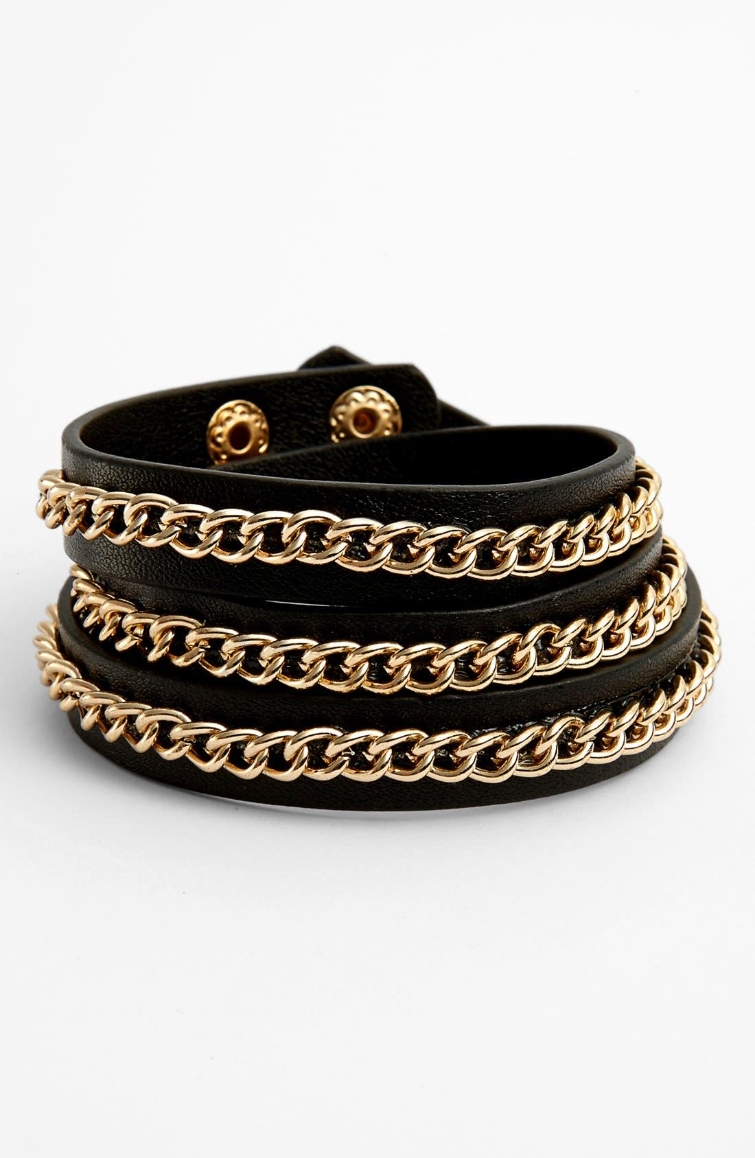 Main Image - Carole Faux Leather Wrap Bracelet (Juniors)