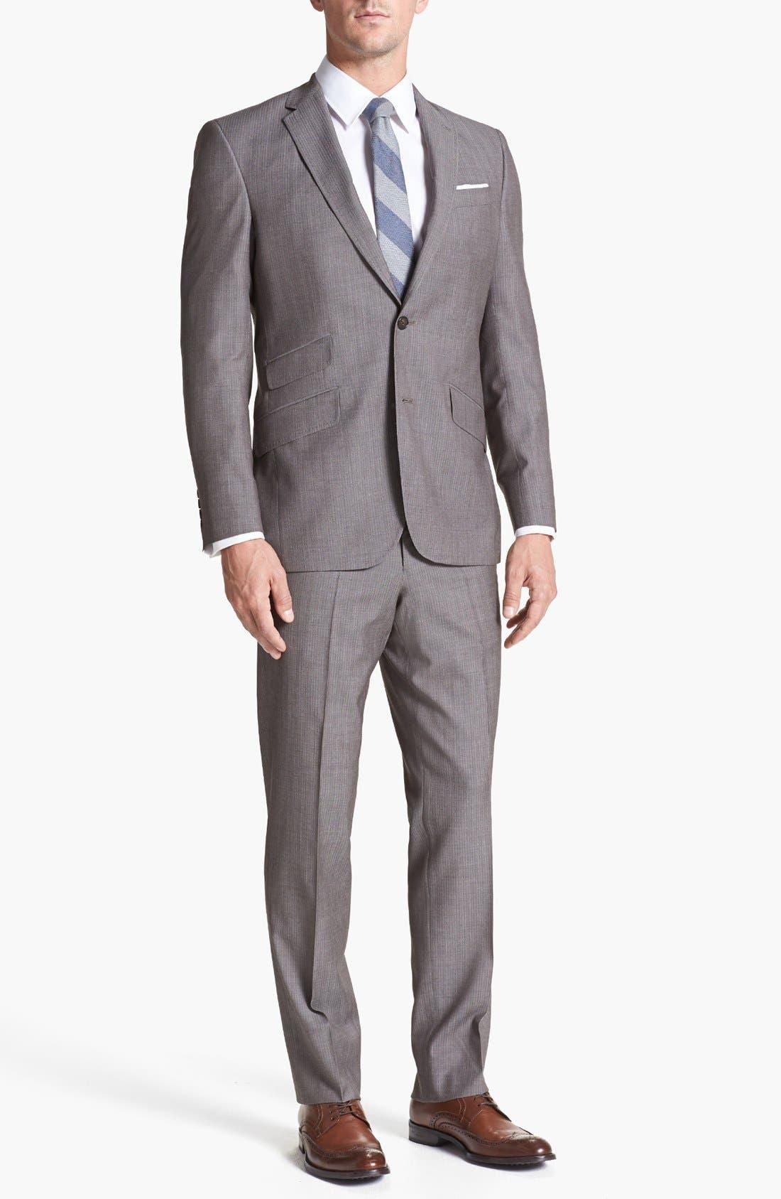 Main Image - Ted Baker London 'Jim' Tan Herringbone Wool Suit