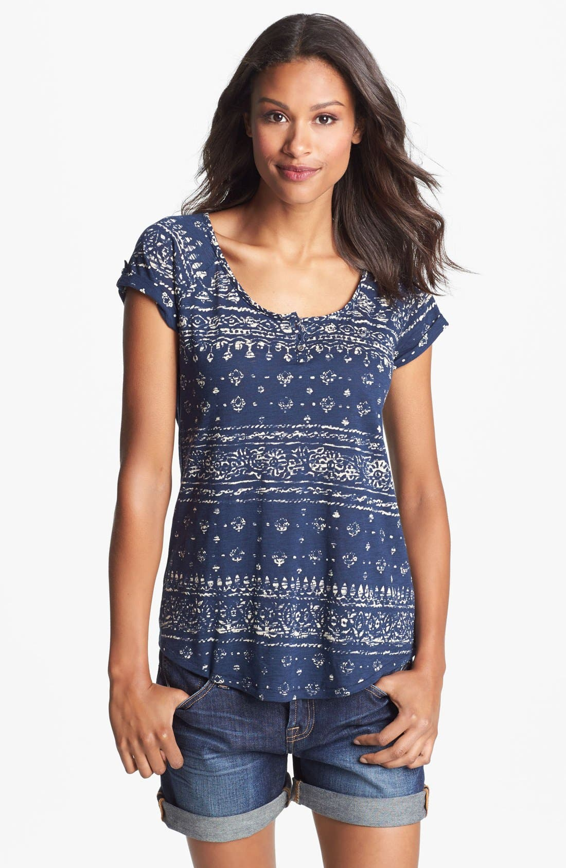 Alternate Image 1 Selected - Lucky Brand 'Bandana' Print Tee