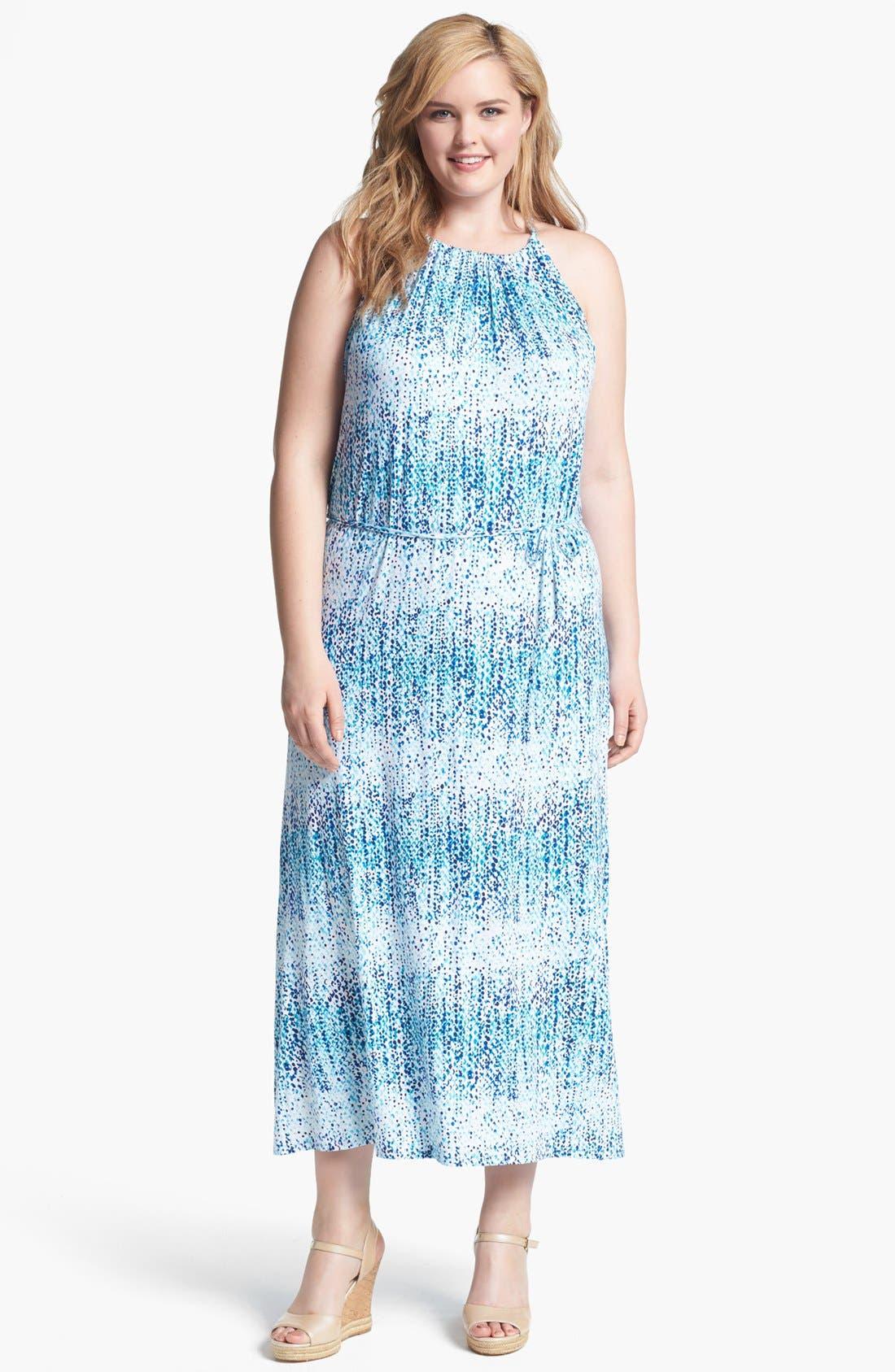 Main Image - Loveappella Print Cutaway Maxi Dress (Plus Size)