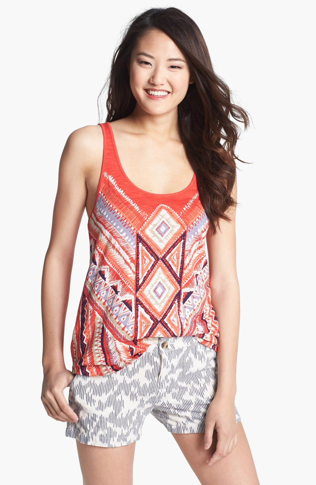Alternate Image 1 Selected - Lucky Brand Aztec Print Racerback Tank (Online Only)