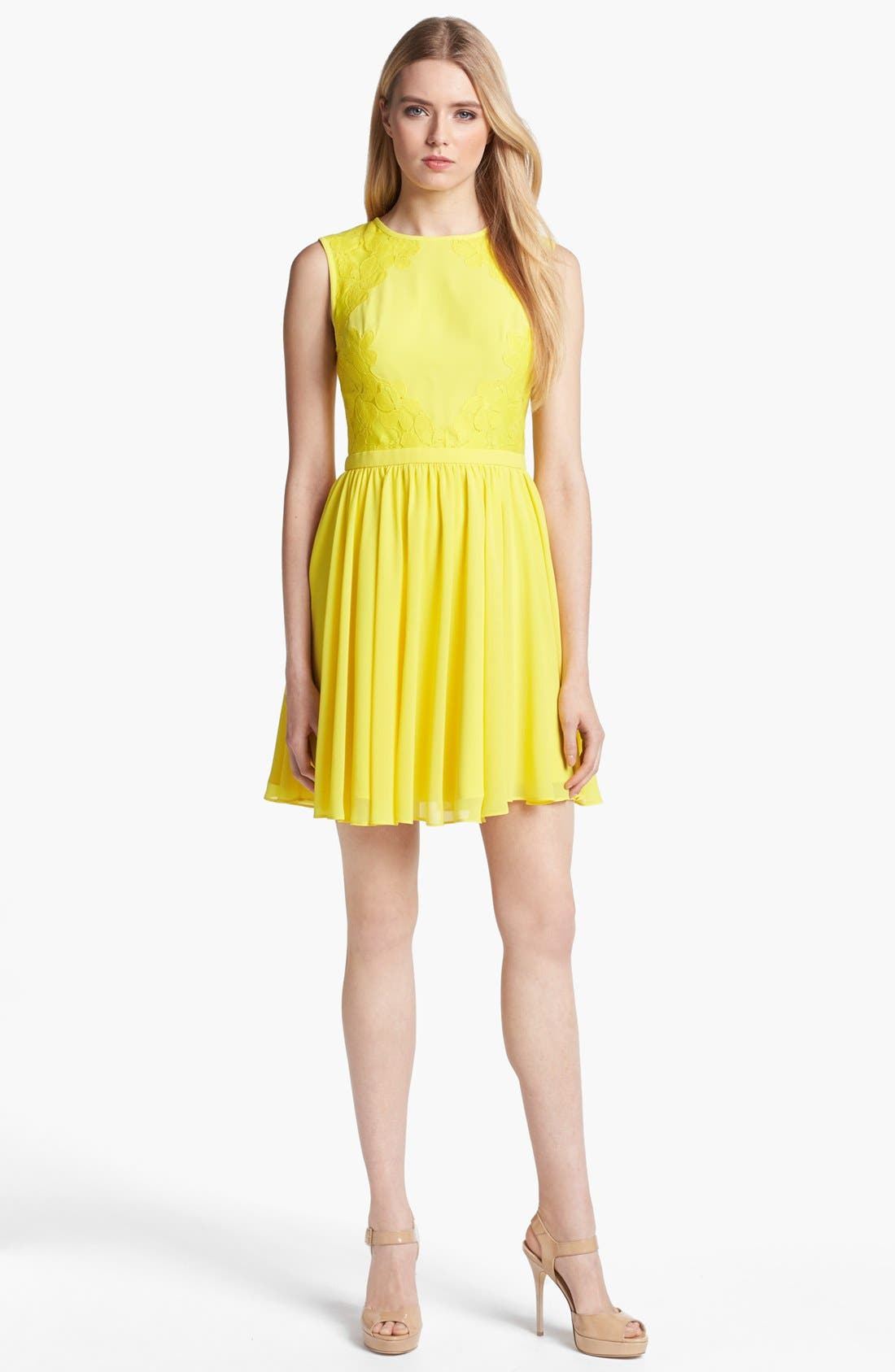 Main Image - Ted Baker London Mixed Media Fit & Flare Dress