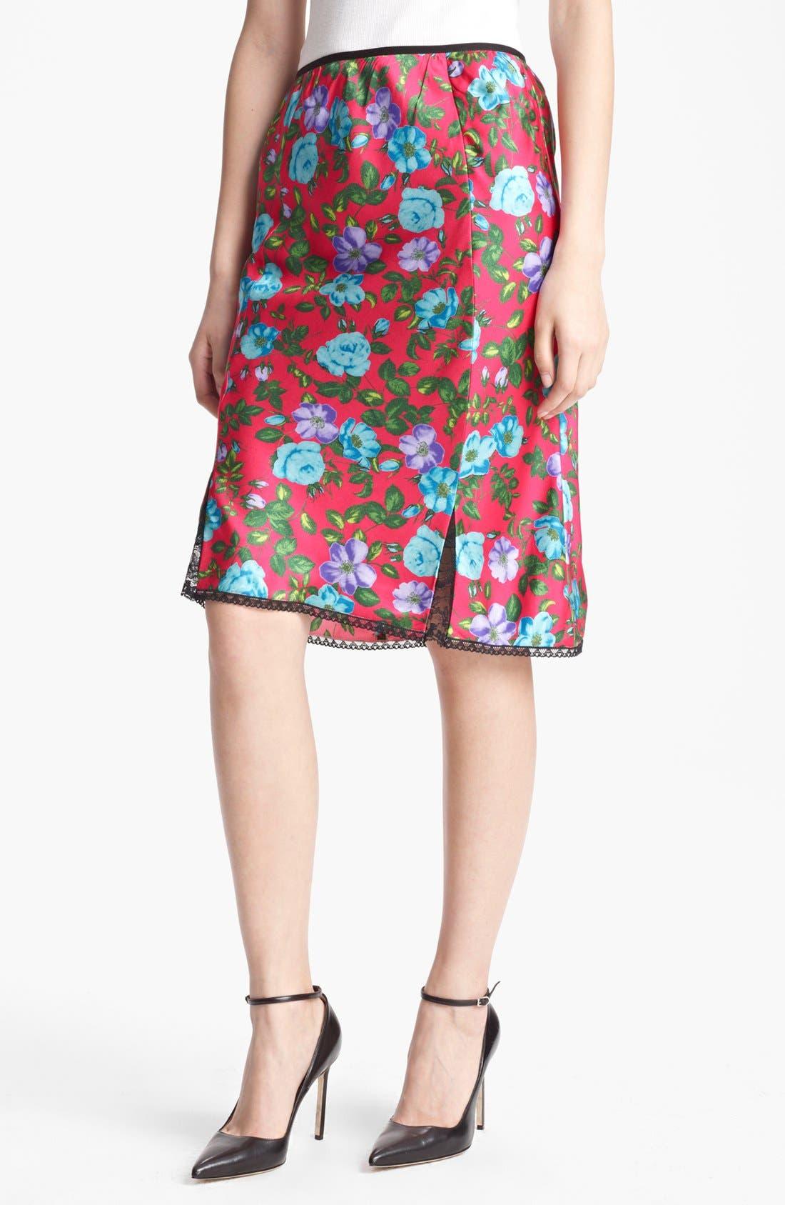 Main Image - Nina Ricci Lace Detail Print Silk Skirt