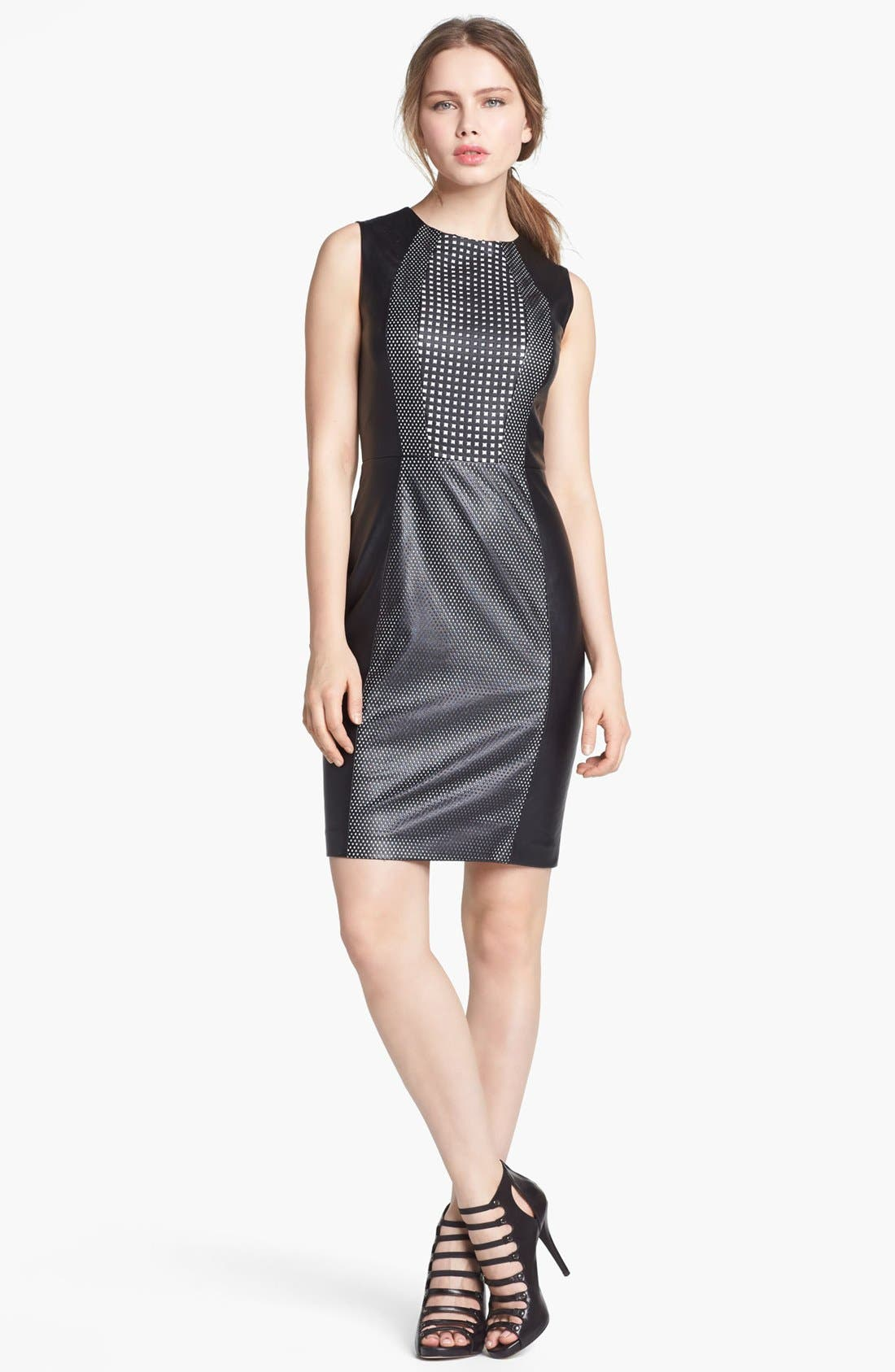 Alternate Image 1 Selected - Vince Camuto Perforated Faux Leather Sheath Dress
