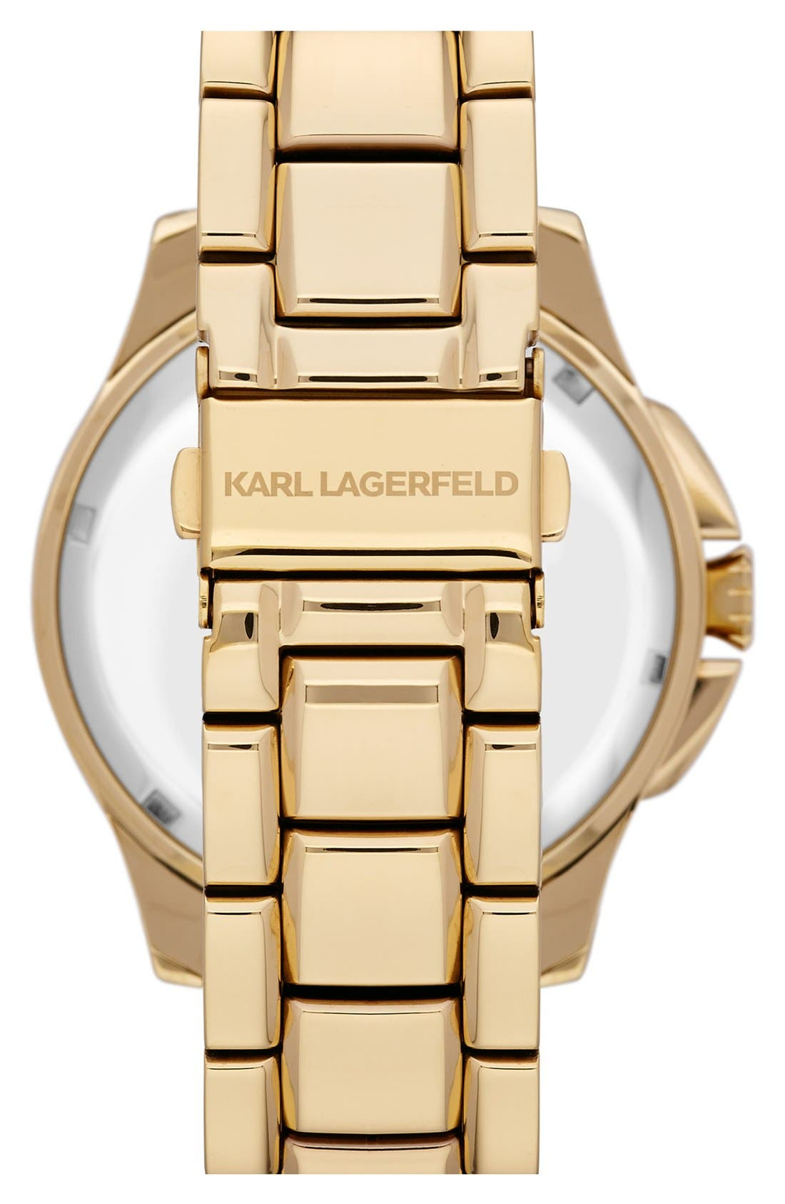 Alternate Image 2  - KARL LAGERFELD '7' Faceted Bezel Bracelet Watch, 44mm (Nordstrom Online Exclusive)