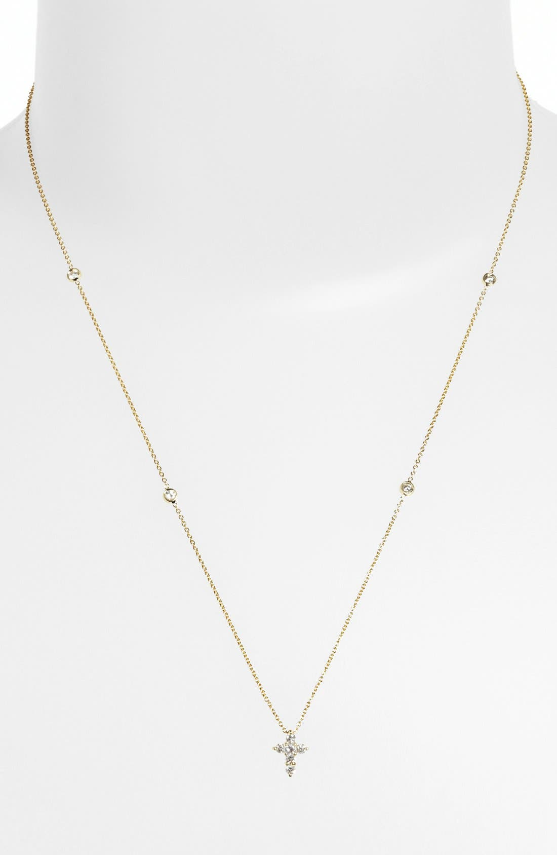 Alternate Image 2  - Roberto Coin 'Tiny Treasures' Diamond Cross Pendant Necklace (Nordstrom Exclusive)