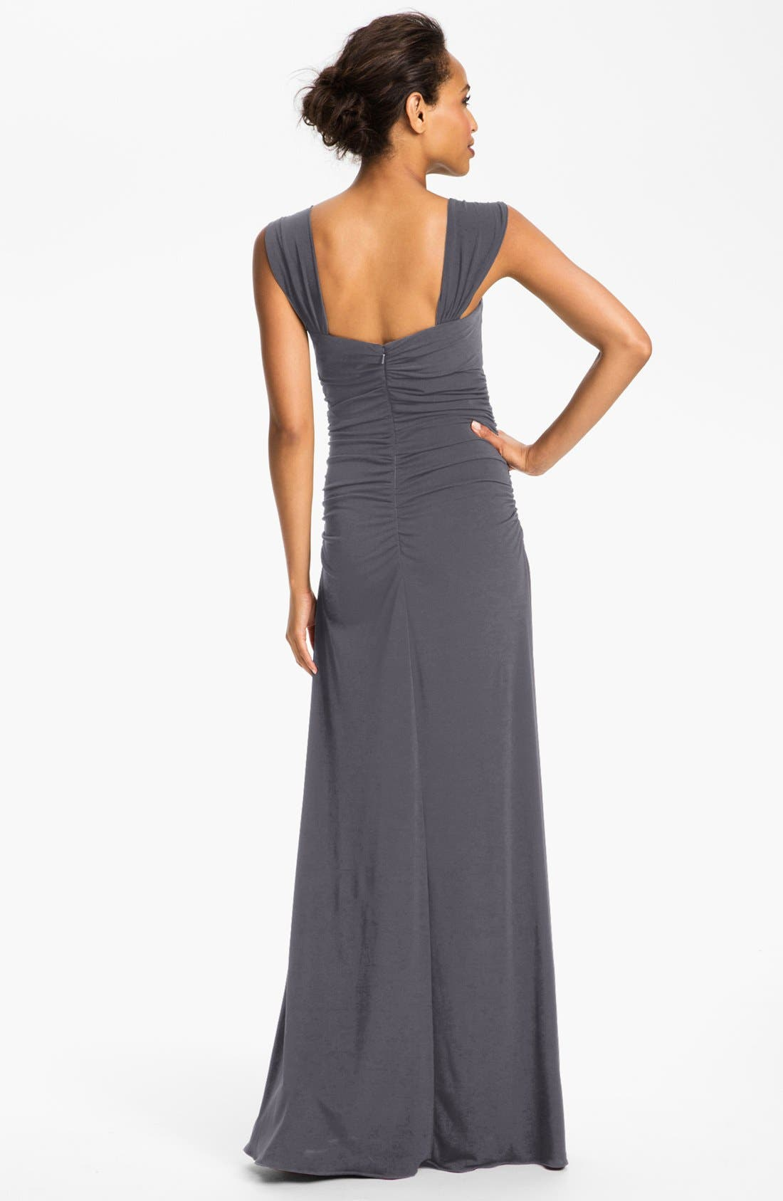 Alternate Image 2  - Amsale Square Neck Ruched Jersey Gown