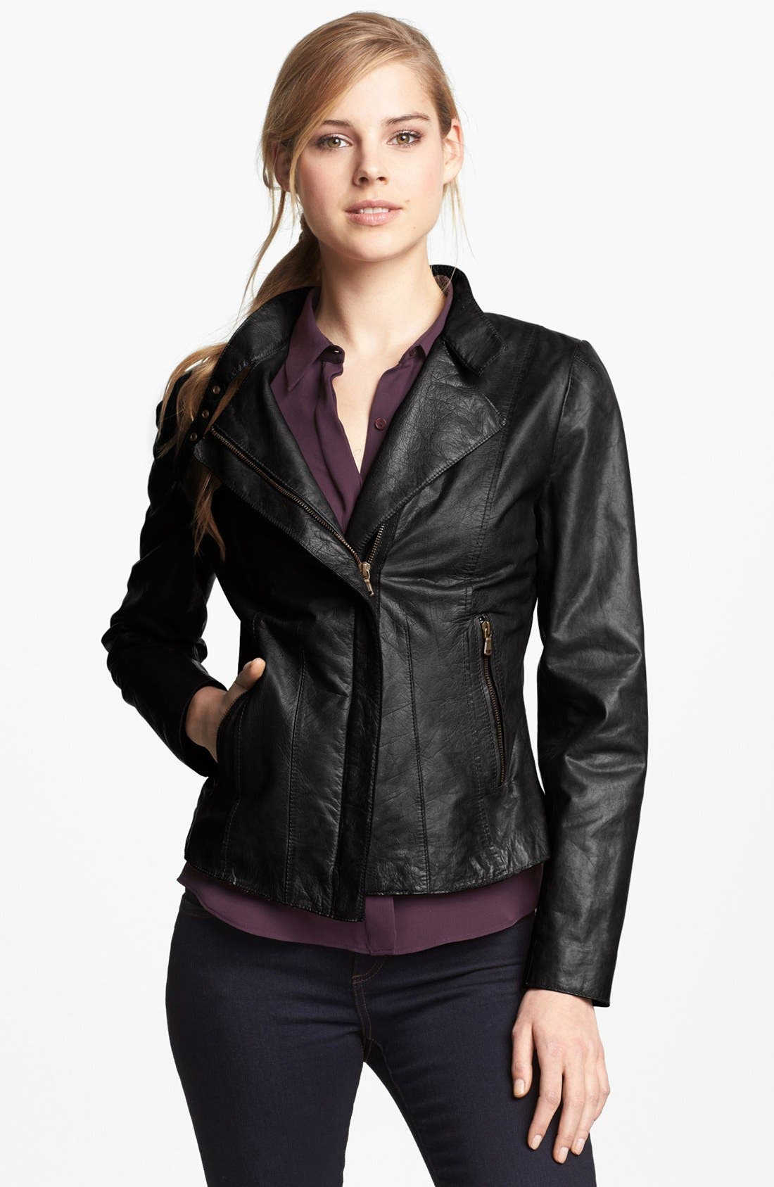 Main Image - Marc New York by Andrew Marc Distressed Leather Jacket (Regular & Petite) (Online Only)