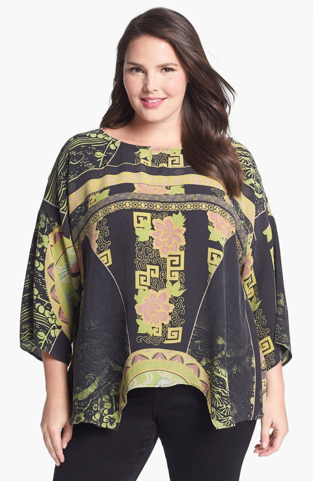Alternate Image 1 Selected - Citron Print Silk Tunic (Plus Size)