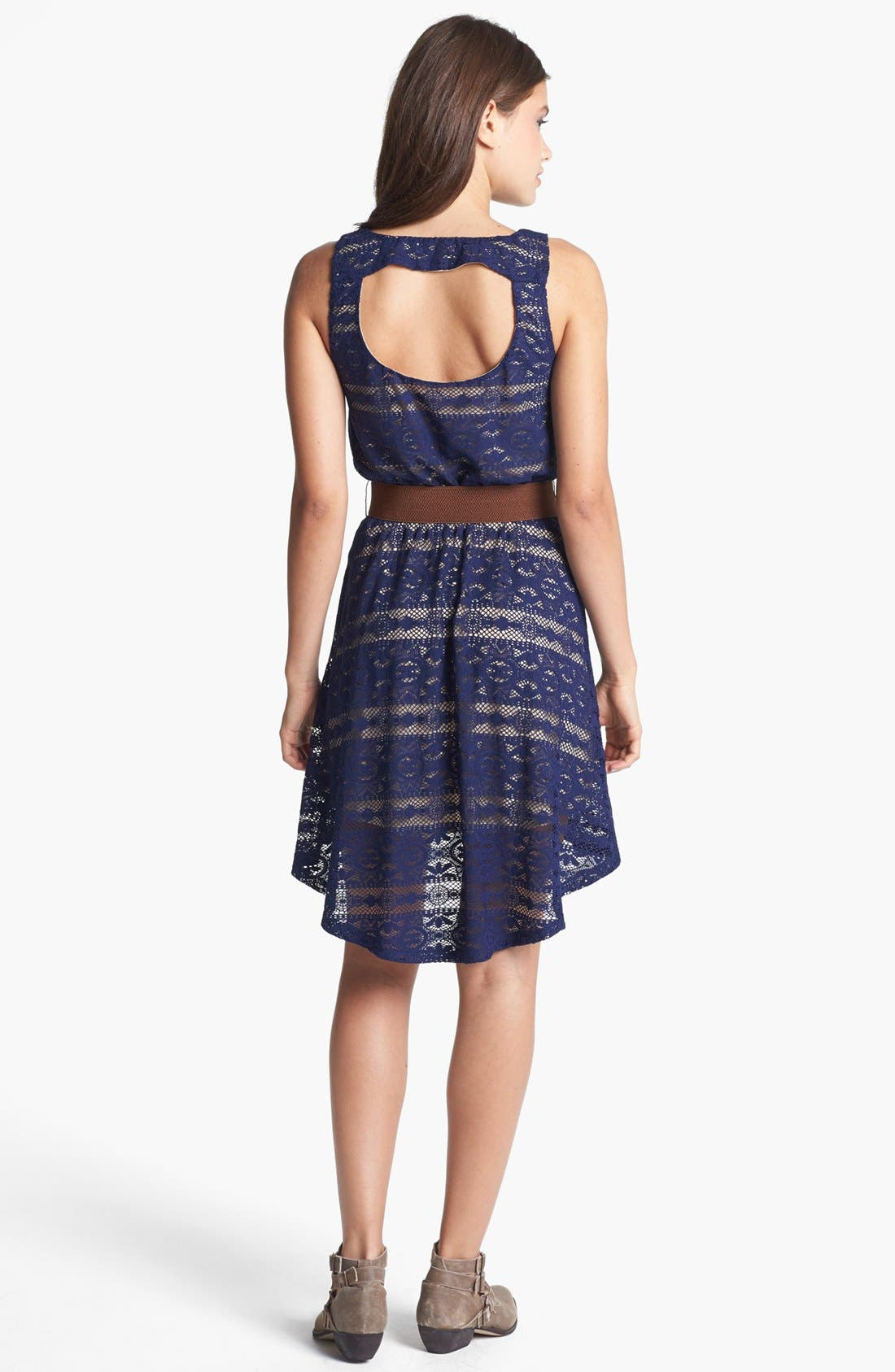 Alternate Image 2  - Trixxi Belted Back Cutout Lace High/Low Dress (Juniors) (Online Only)