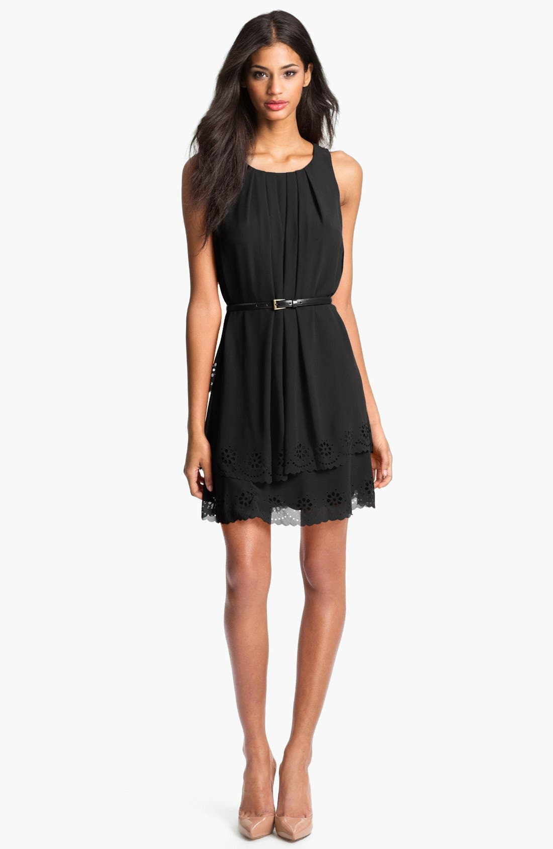 Alternate Image 1 Selected - Jessica Simpson Tiered Eyelet Crêpe de Chine Dress