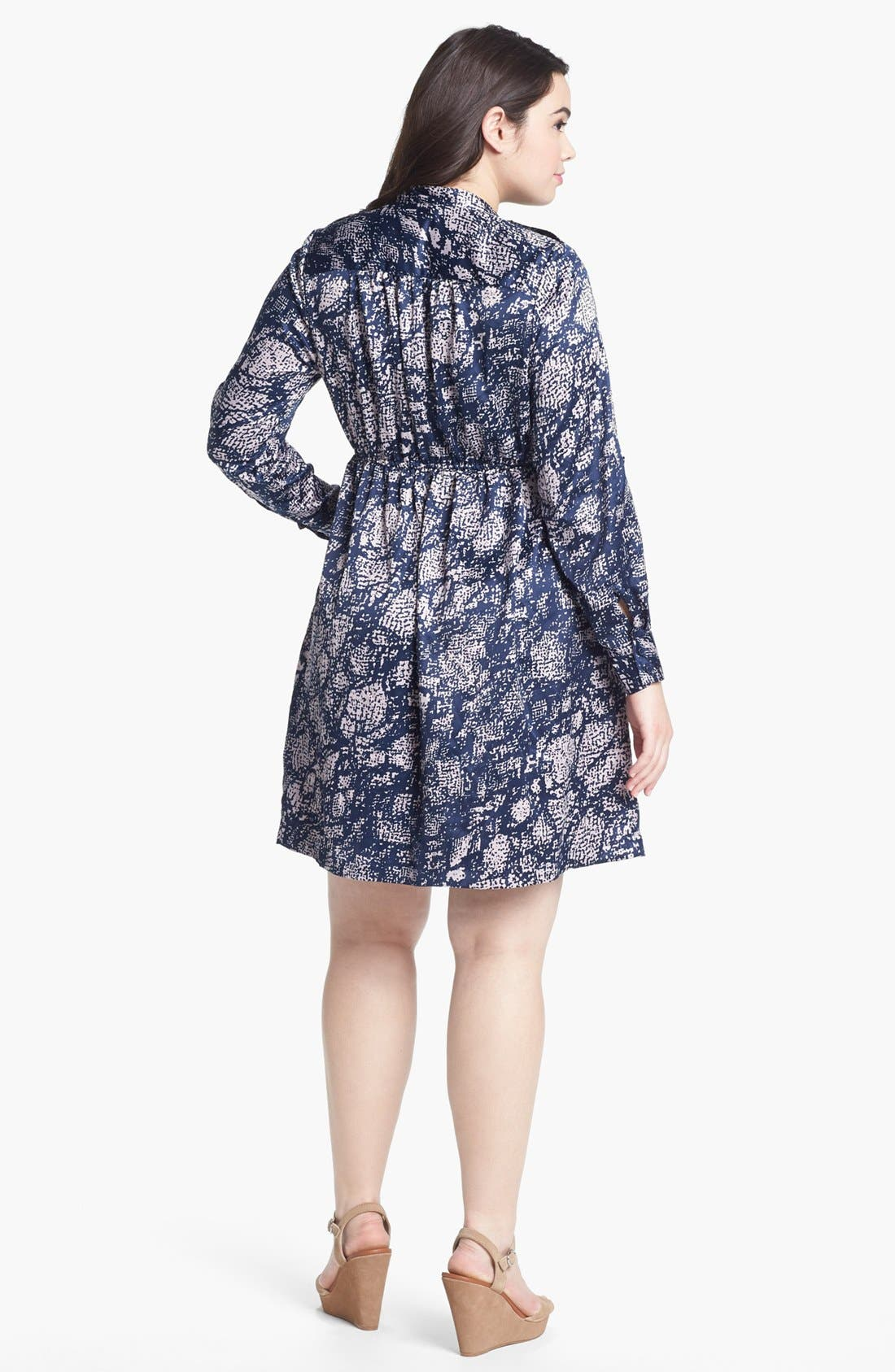 Alternate Image 2  - Fire Print Long Sleeve Charmeuse Dress (Juniors Plus)