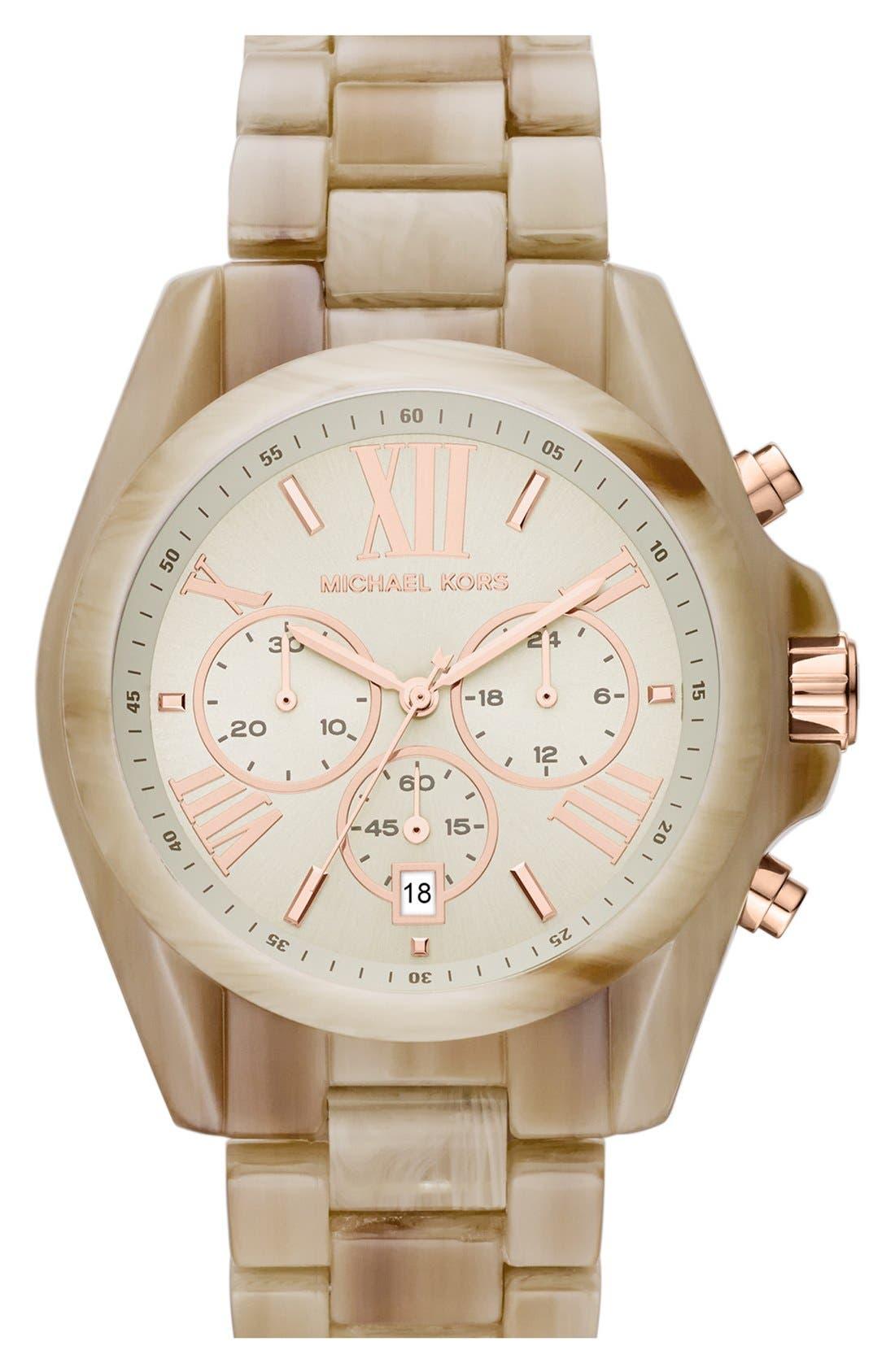 Alternate Image 1 Selected - Michael Kors 'Bradshaw' Chronograph Resin Bracelet Watch, 43mm