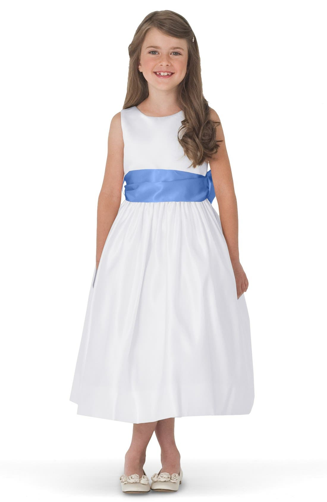 Alternate Image 1 Selected - Us Angels White Tank Dress with Satin Sash (Toddler, Little Girls & Big Girls)