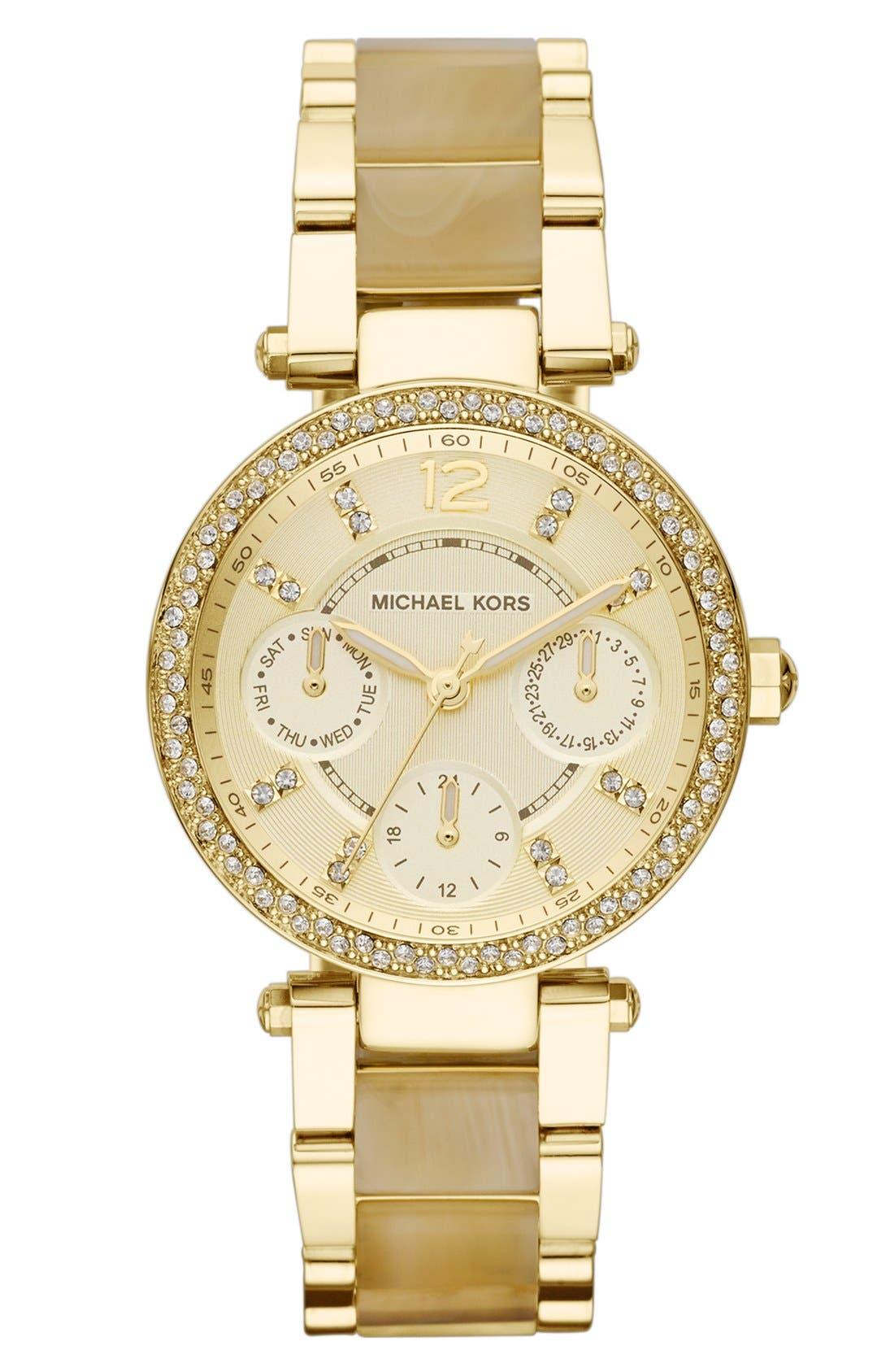 Alternate Image 1 Selected - Michael Kors 'Mini Parker' Crystal Bezel Bracelet Watch, 33mm