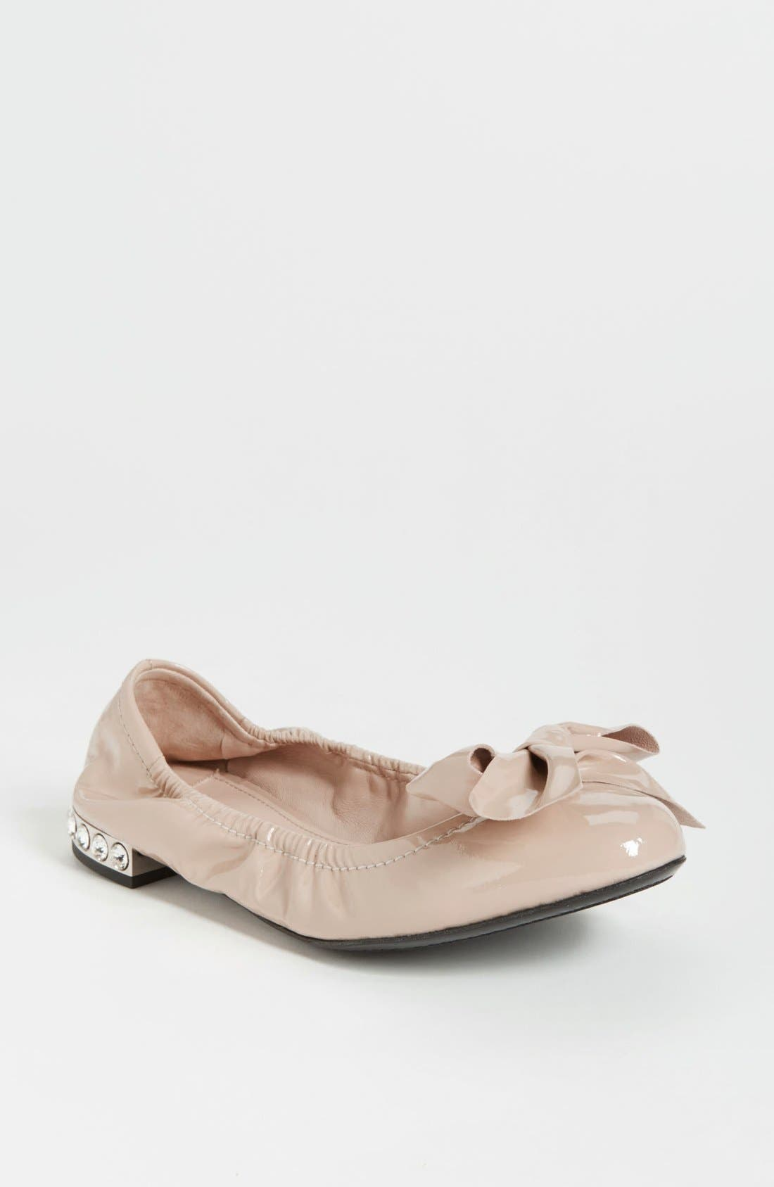 Alternate Image 1 Selected - Miu Miu Jeweled Heel Ballerina Flat