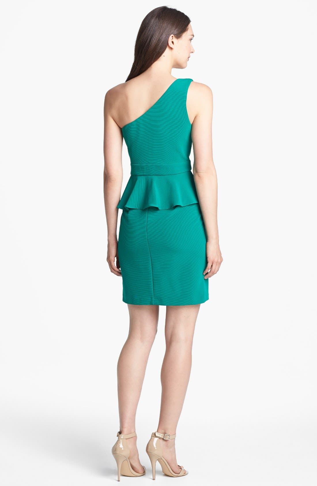 Alternate Image 2  - Hailey by Adrianna Papell One Shoulder Peplum Dress (Online Only)