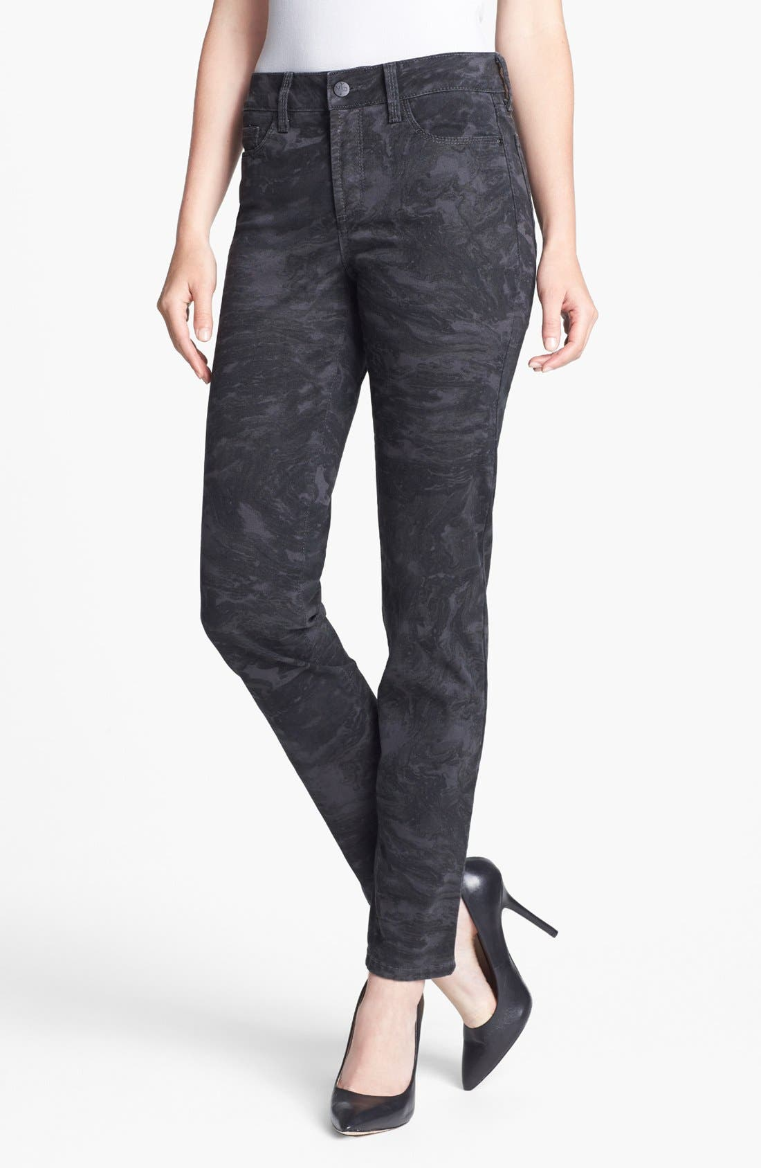 Alternate Image 1 Selected - NYDJ 'Sheri' Print Skinny Stretch Jeans (Regular & Petite)