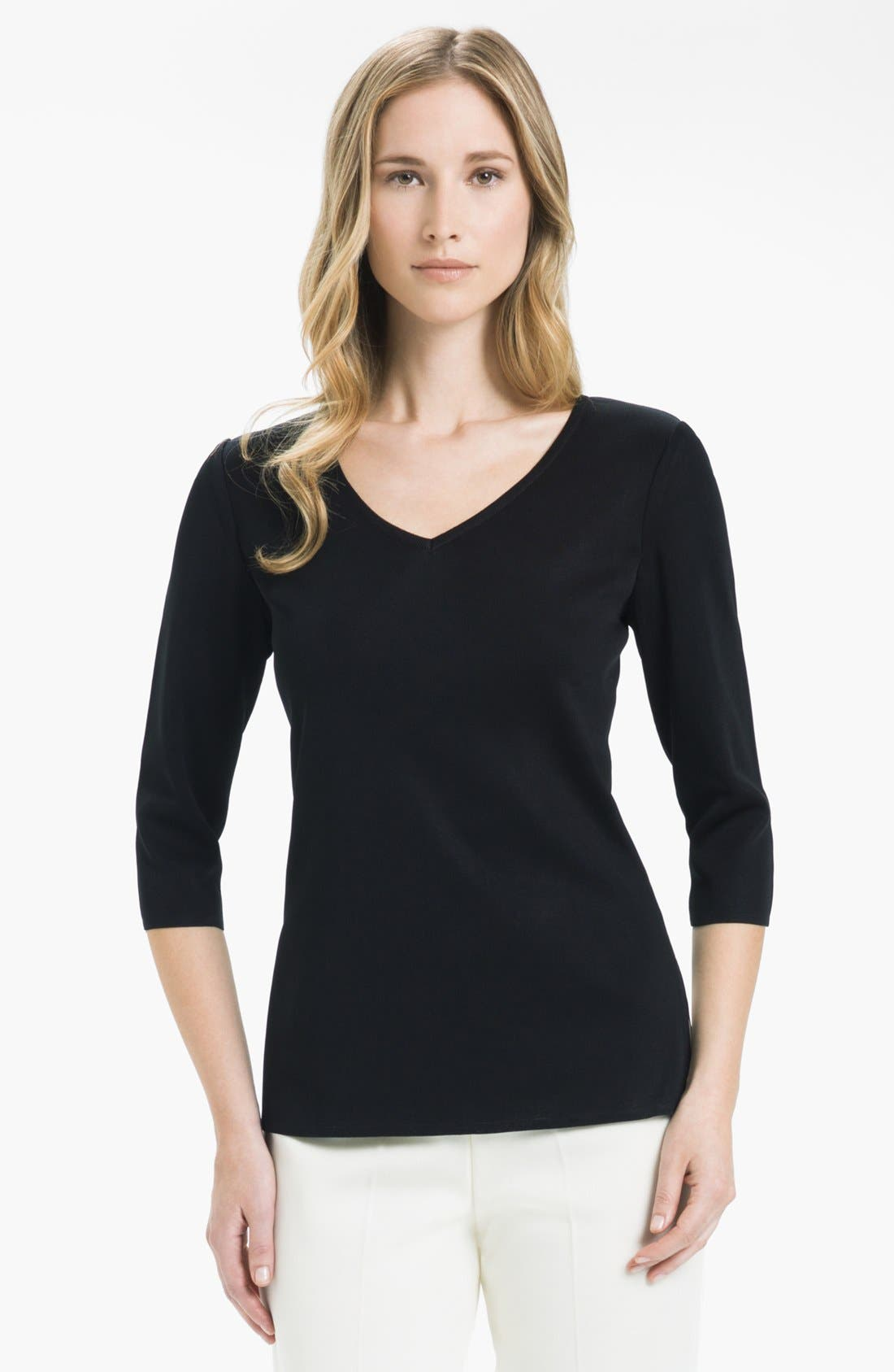 Alternate Image 1 Selected - Ming Wang V-Neck Three Quarter Sleeve Shell