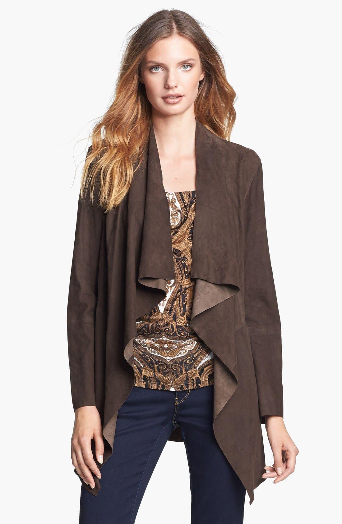 Alternate Image 1 Selected - MICHAEL Michael Kors Drape Front Suede Jacket