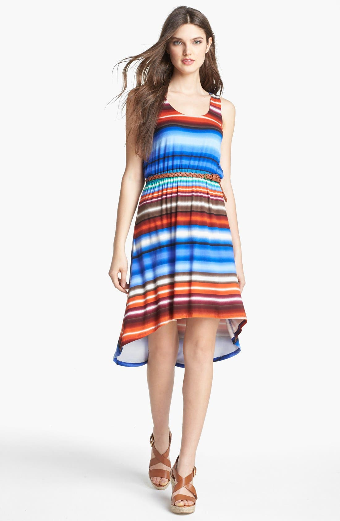 Alternate Image 1 Selected - Calvin Klein Stripe Tank Dress (Petite)