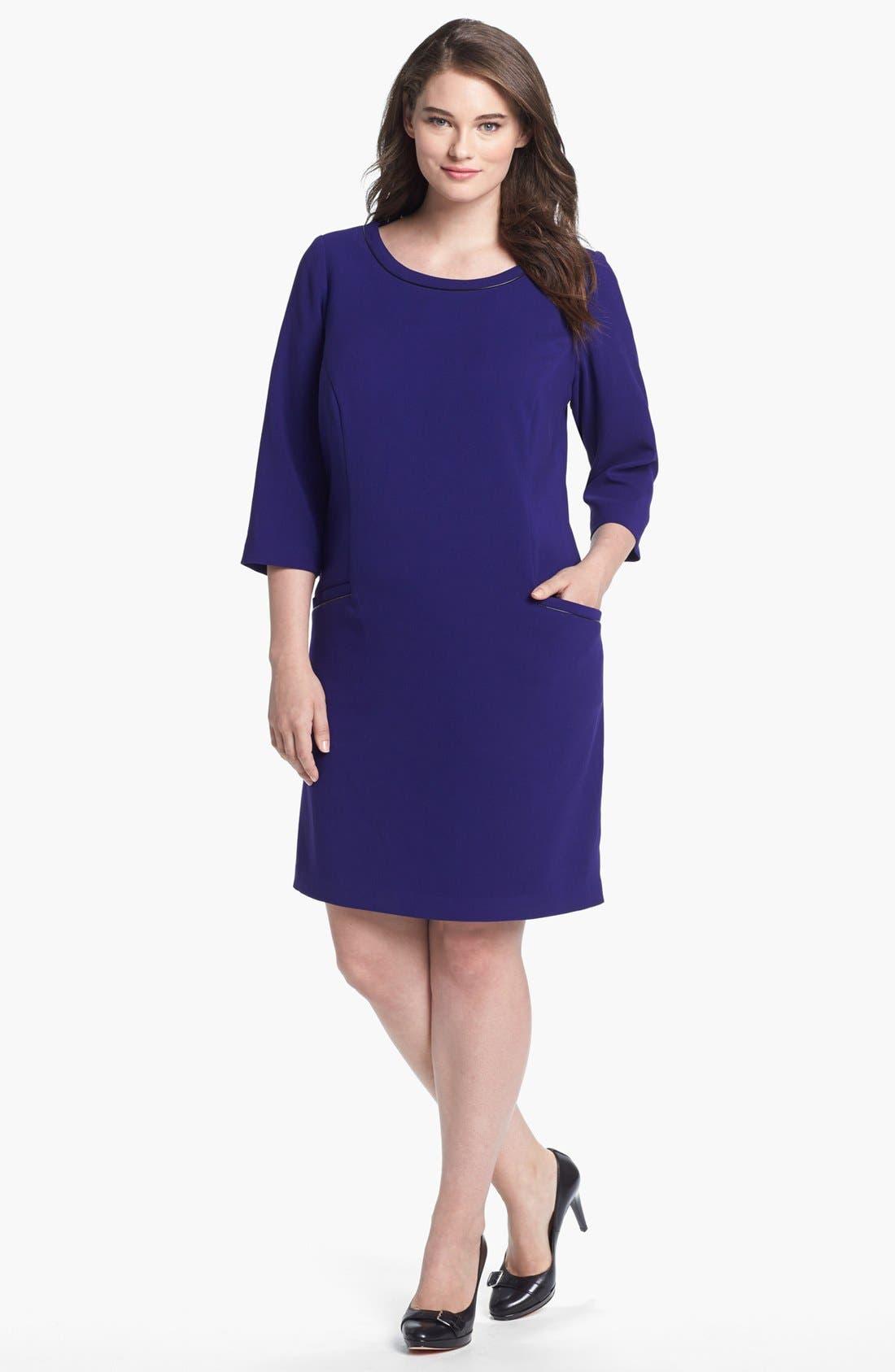 Main Image - Eliza J Faux Leather Trim Shift Dress (Plus Size)
