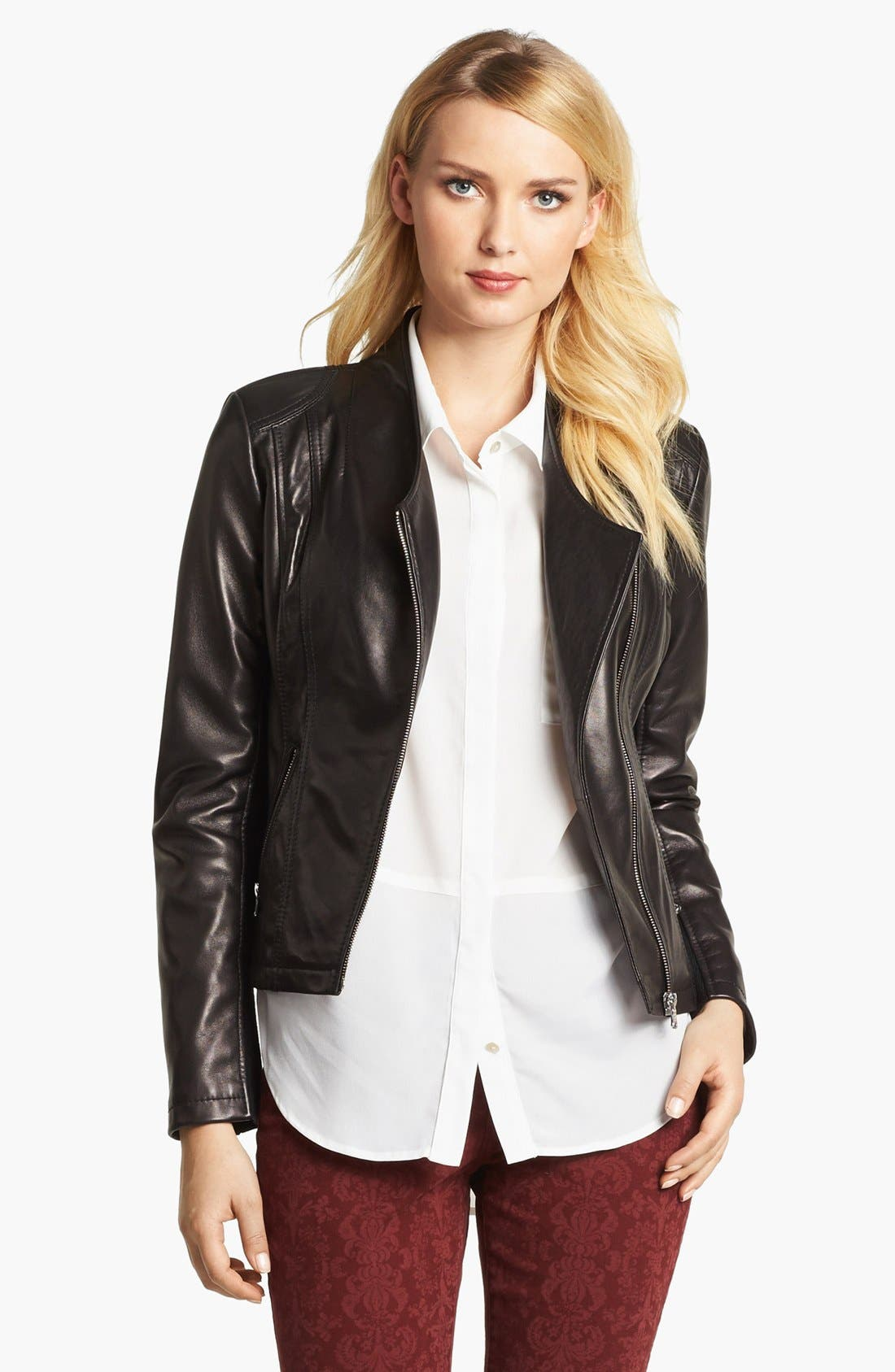 Alternate Image 1 Selected - Calvin Klein Leather Moto Jacket