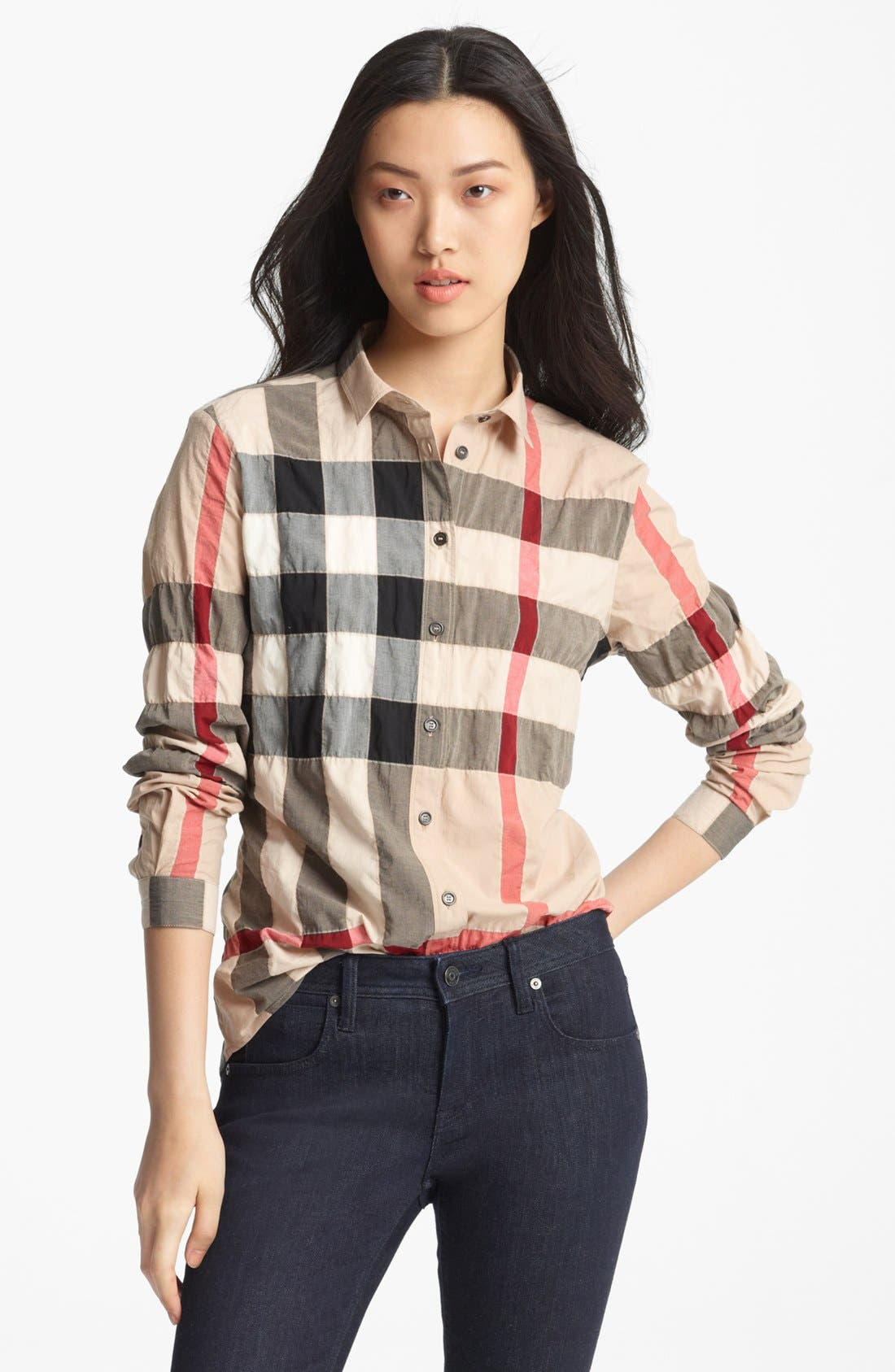 Alternate Image 1 Selected - Burberry Brit Pucker Check Print Shirt