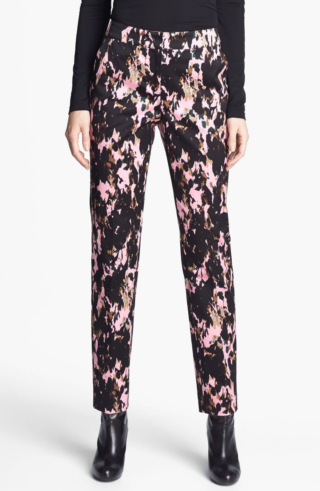 Alternate Image 1 Selected - St. John Collection 'Emma Longe' Abstract Print Stretch Sateen Pants