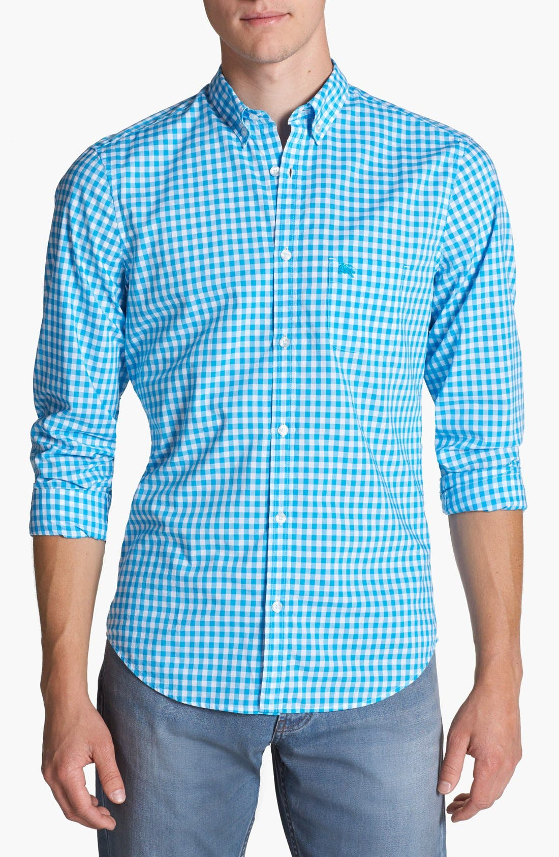 Alternate Image 1 Selected - Burberry Brit 'Adken' Gingham Trim Fit Cotton Sport Shirt