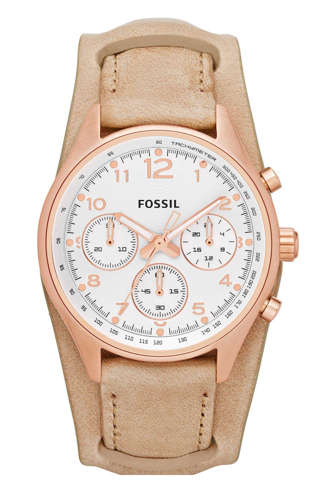 Main Image - Fossil 'Flight' Leather Cuff Watch