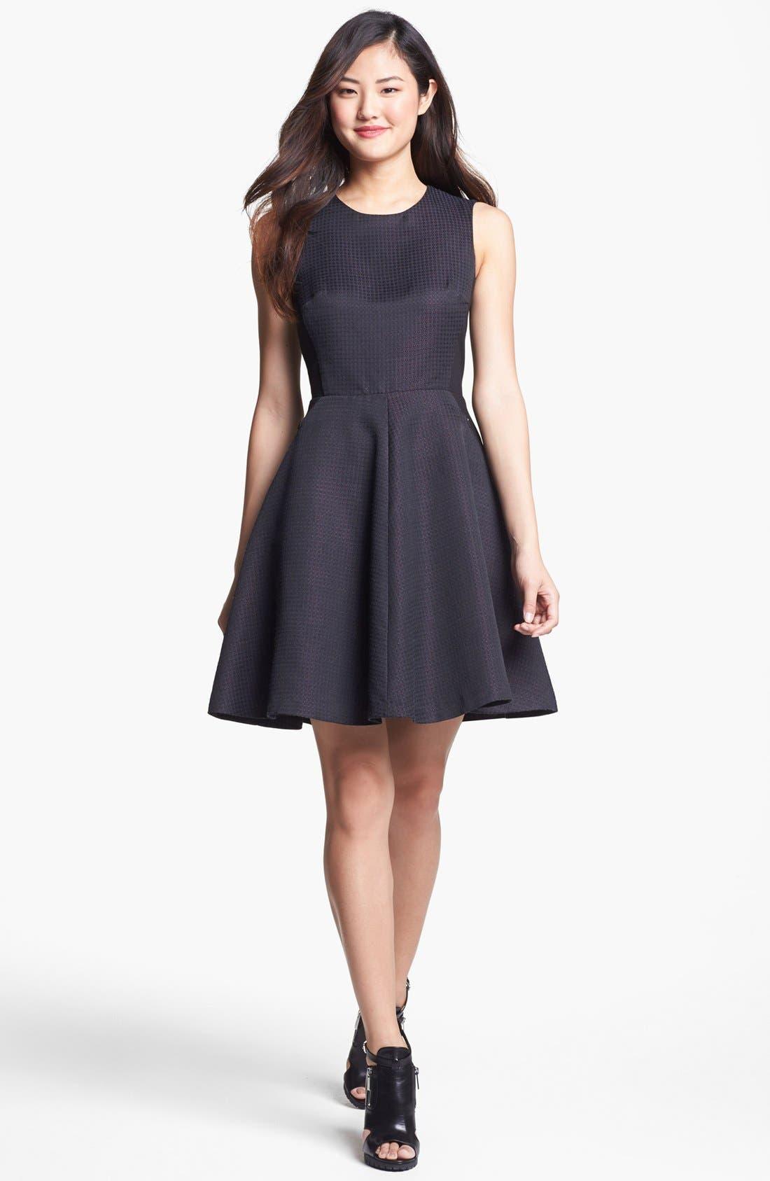 Alternate Image 1 Selected - Halogen® Jacquard Fit & Flare Dress (Regular & Petite)