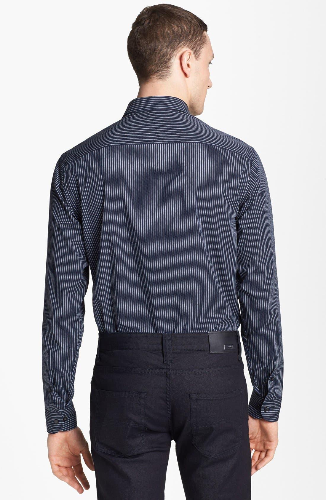 Alternate Image 2  - Armani Collezioni Stripe Cotton Sport Shirt
