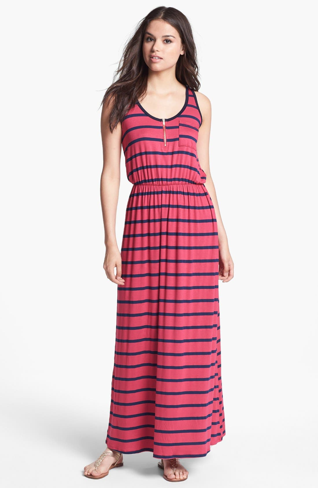 Main Image - Everleigh Zip Front Stripe Maxi Dress (Petite)