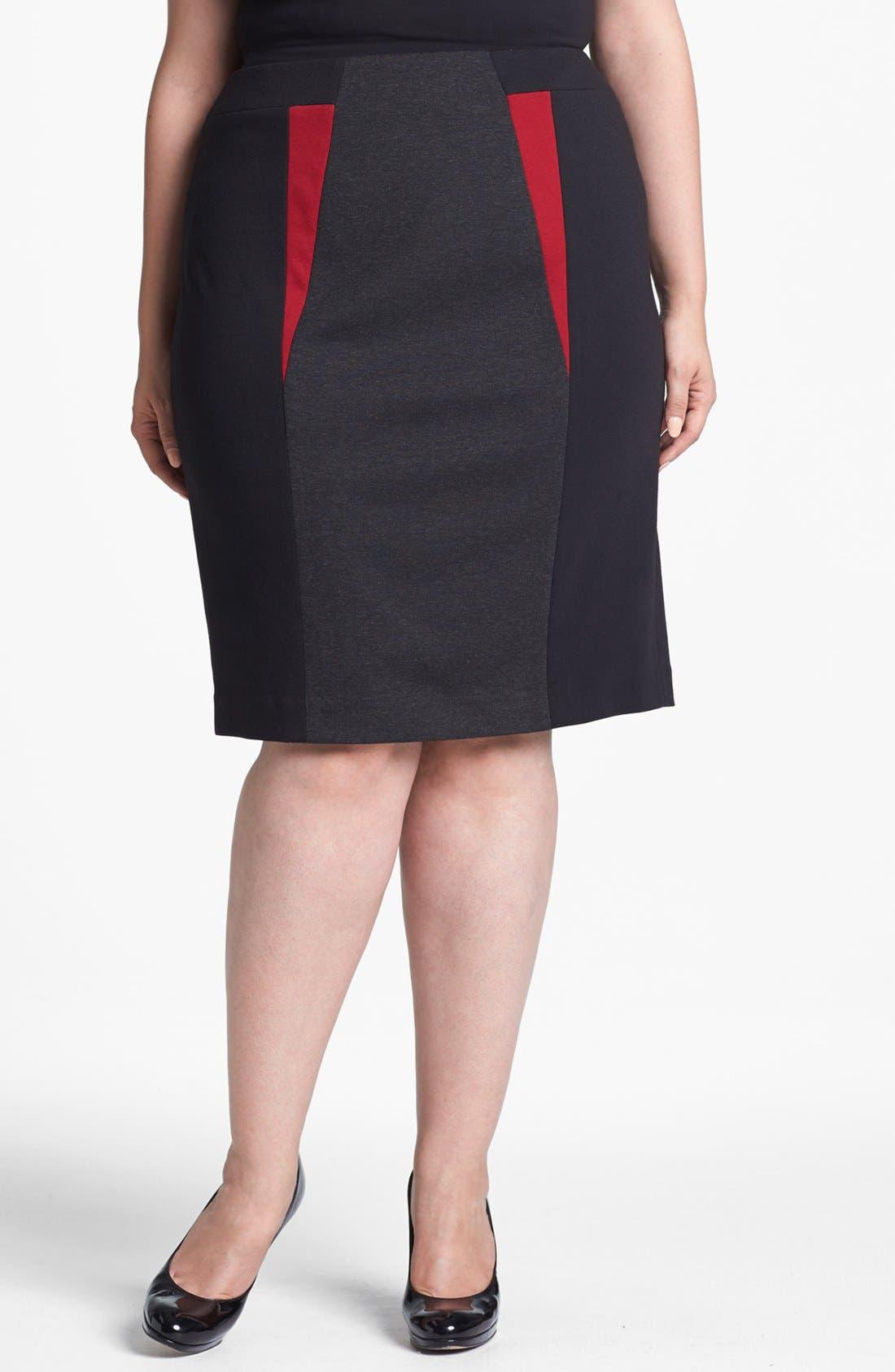 Main Image - Sejour Colorblock Ponte Knit Pencil Skirt (Plus Size)