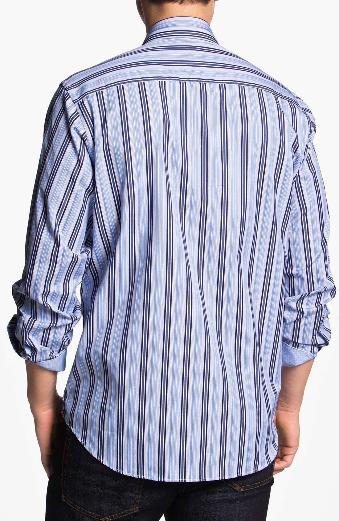 Alternate Image 2  - Bugatchi Striped Classic Fit Cotton Sport Shirt