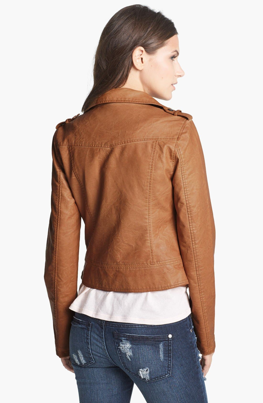 Alternate Image 2  - Thread & Supply Faux Leather Moto Jacket (Juniors) (Online Only)