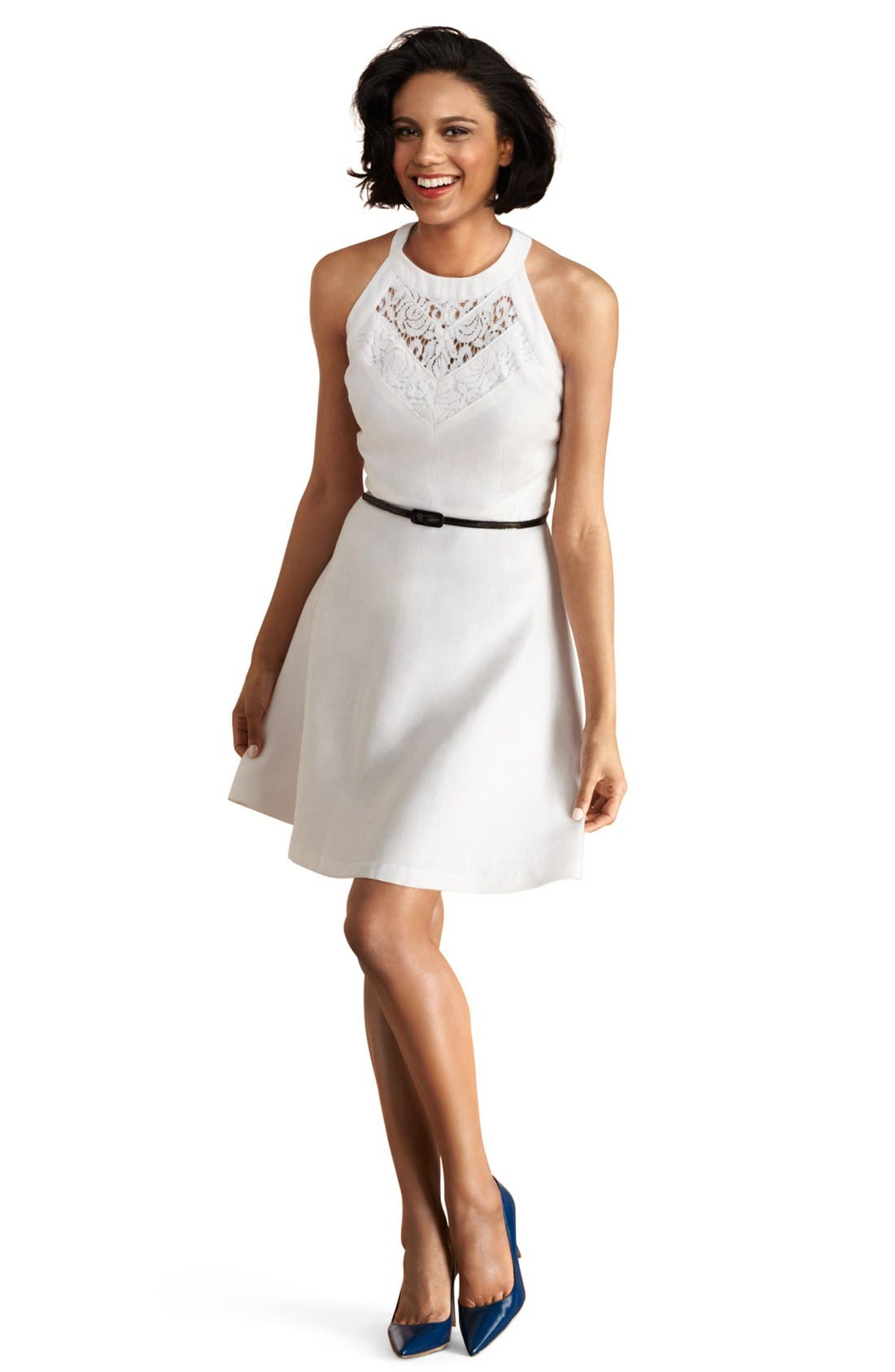 Main Image - Donna Morgan Lace Inset Fit & Flare Dress (Petite)